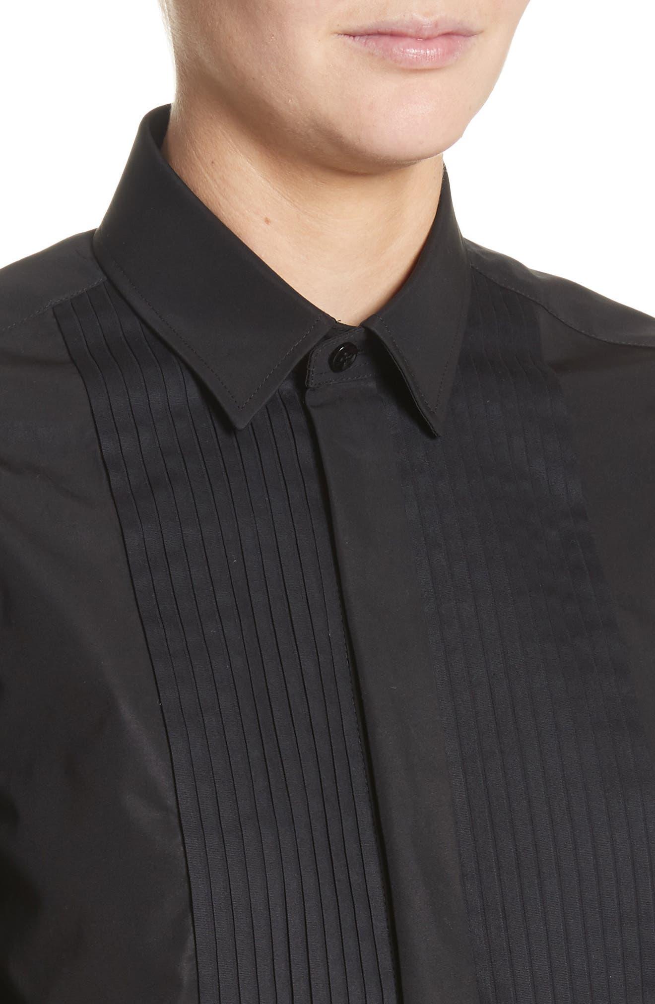 Cotton Tuxedo Shirt,                             Alternate thumbnail 4, color,                             001