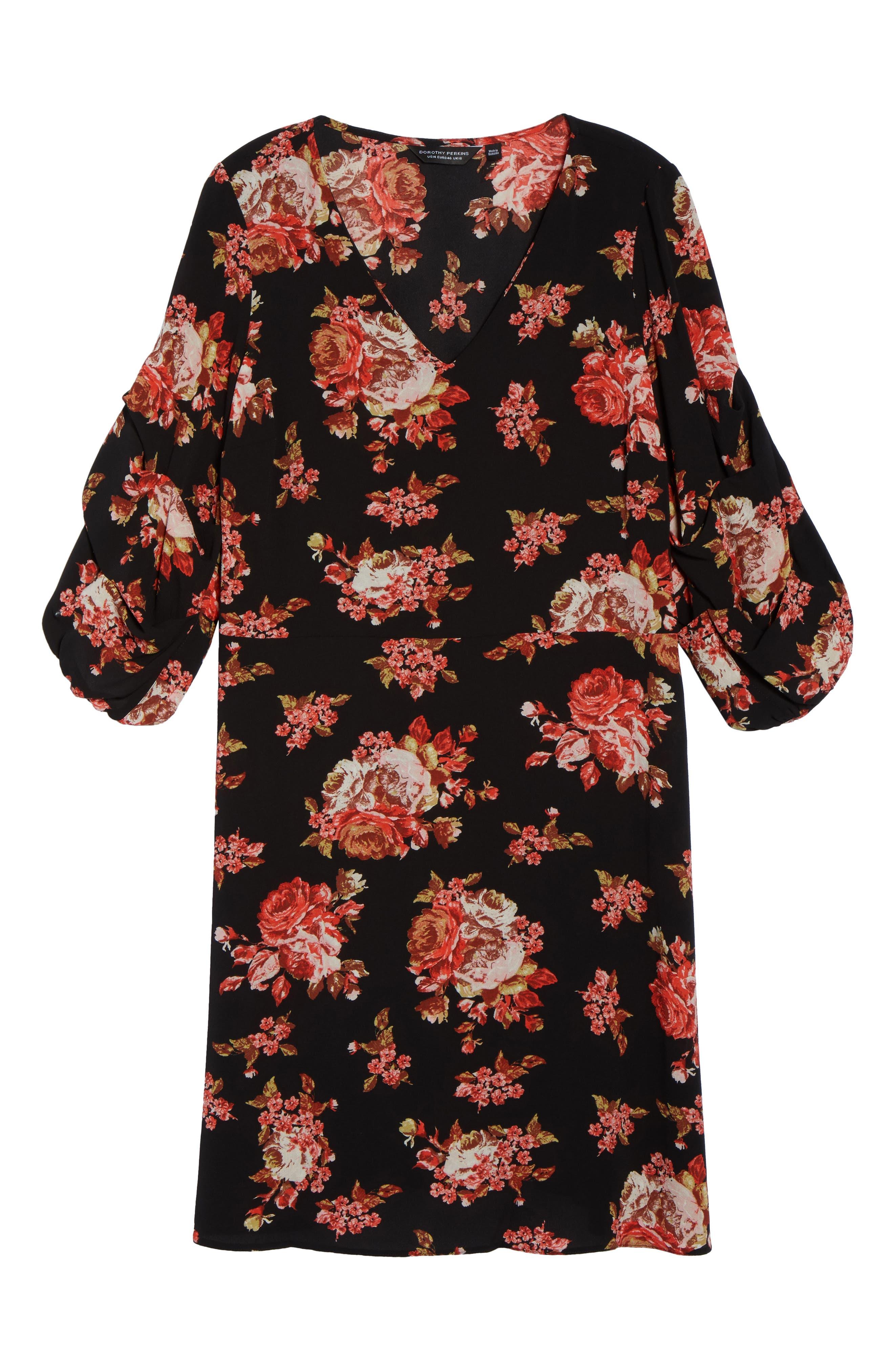 V-Neck Floral Print Dress,                             Alternate thumbnail 6, color,