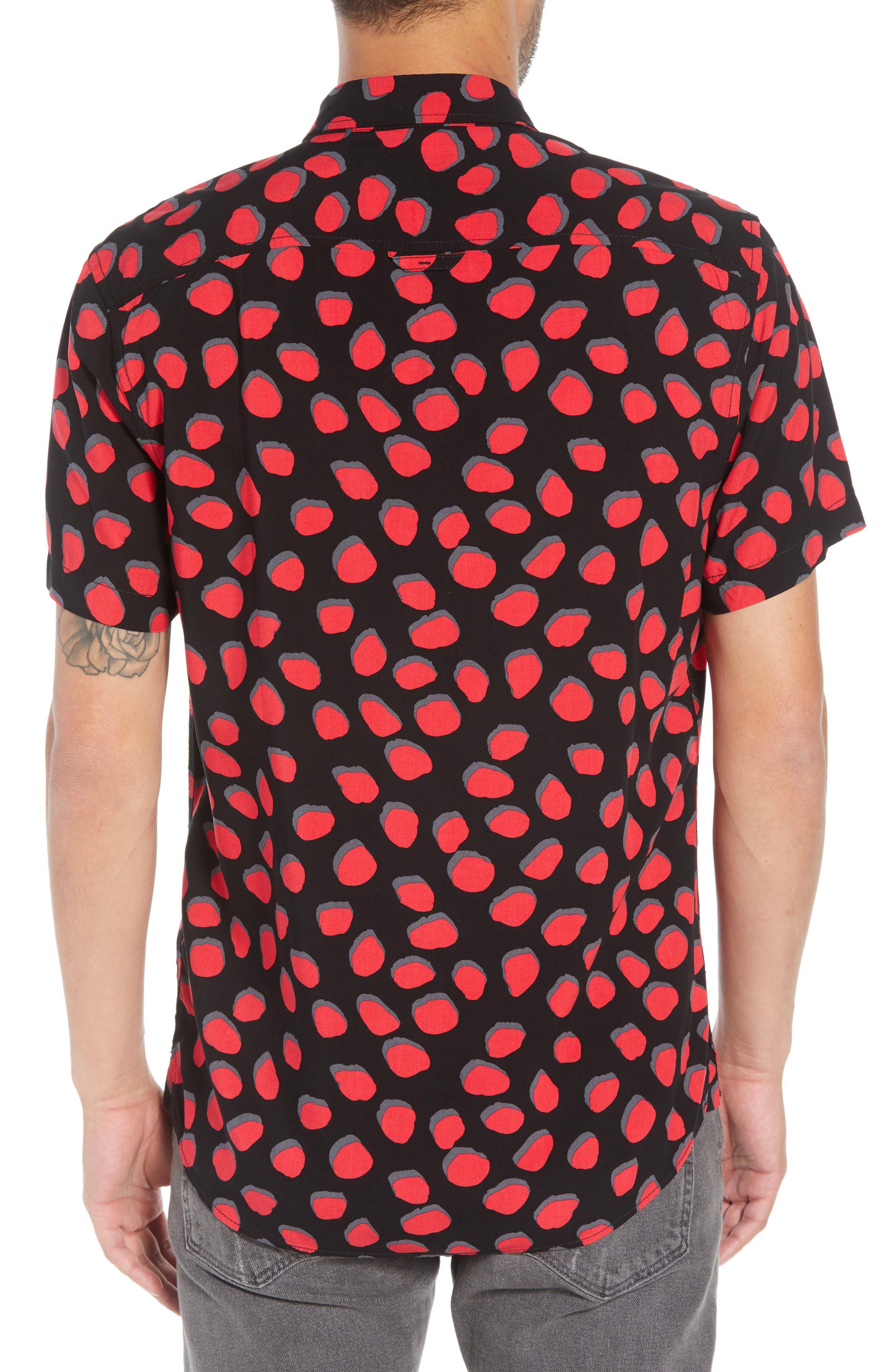 Dot Print Woven Shirt,                             Alternate thumbnail 2, color,                             BLACK CORAL INKY DOTS