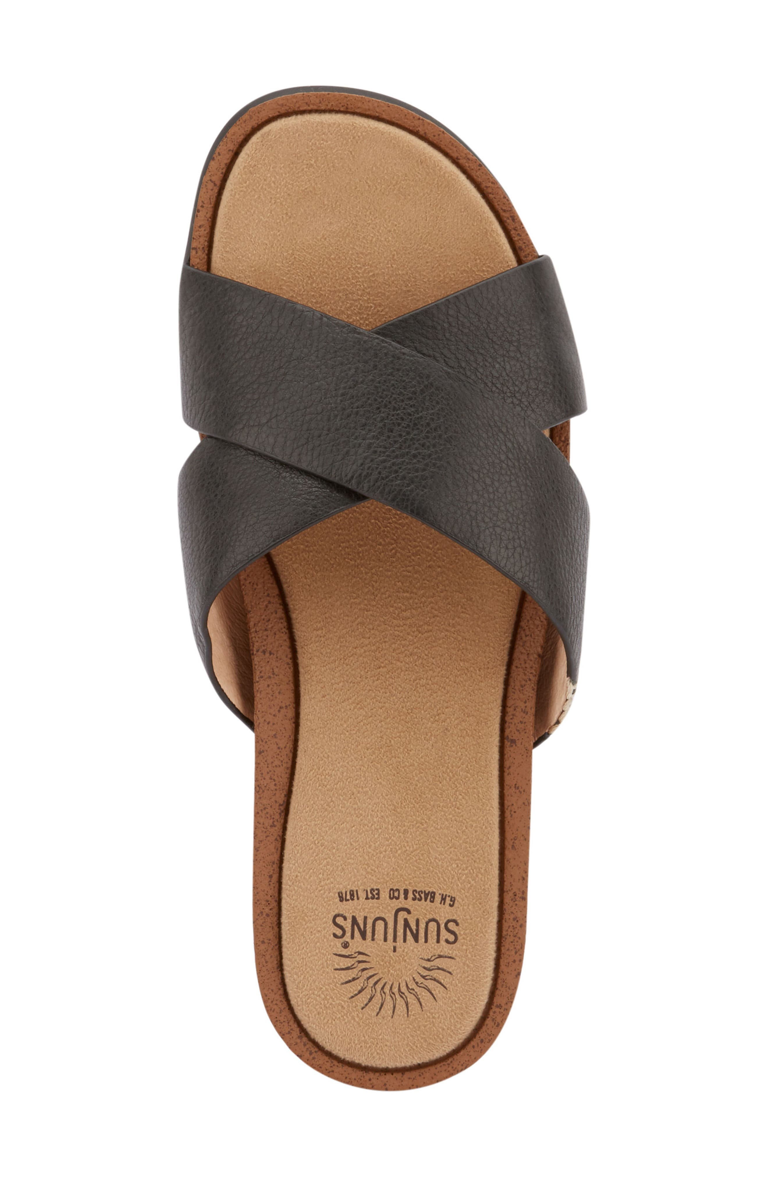 Stella Slide Sandal,                             Alternate thumbnail 5, color,                             BLACK LEATHER