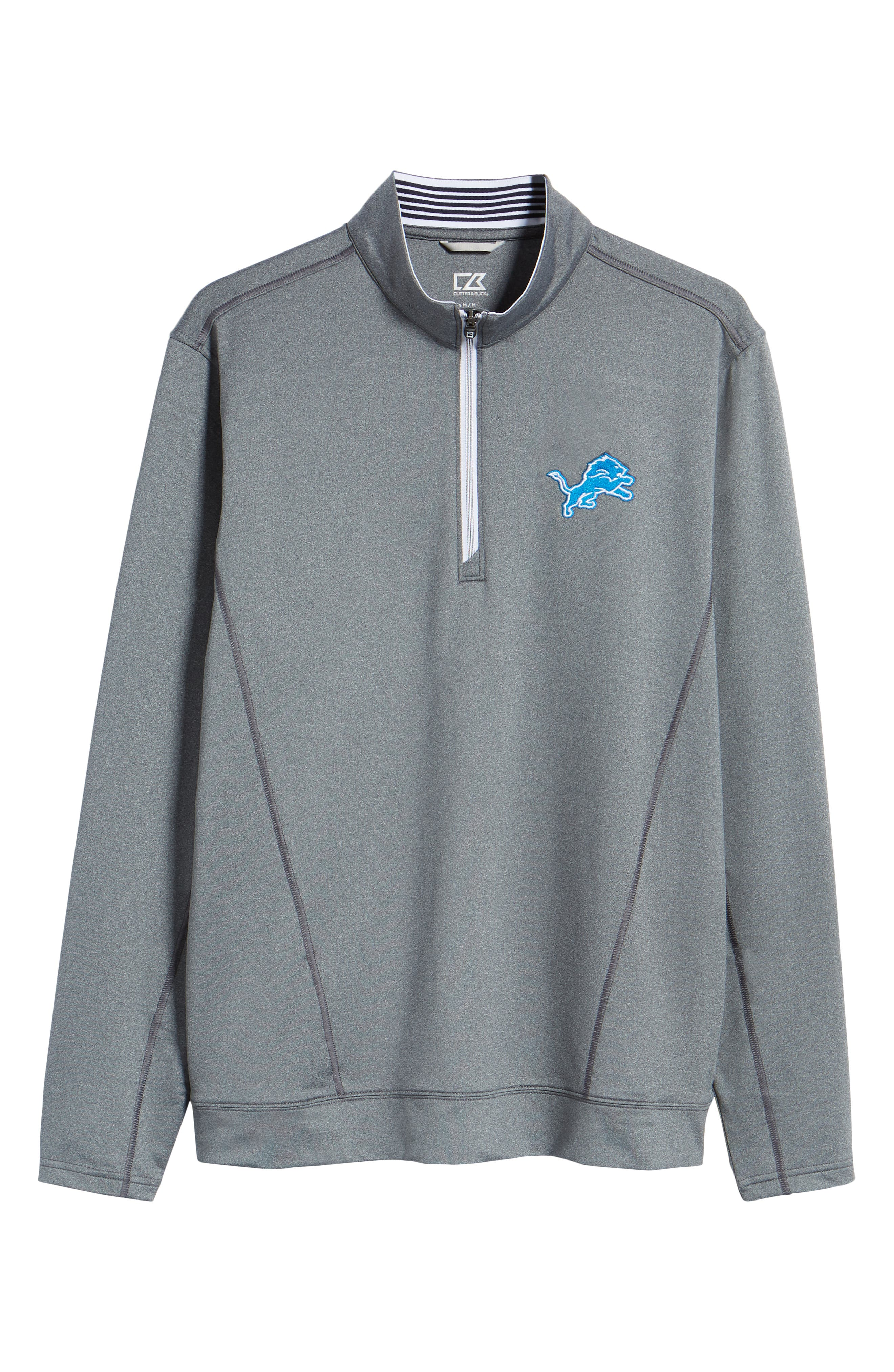 Endurance Detroit Lions Regular Fit Pullover,                             Alternate thumbnail 6, color,                             CHARCOAL HEATHER