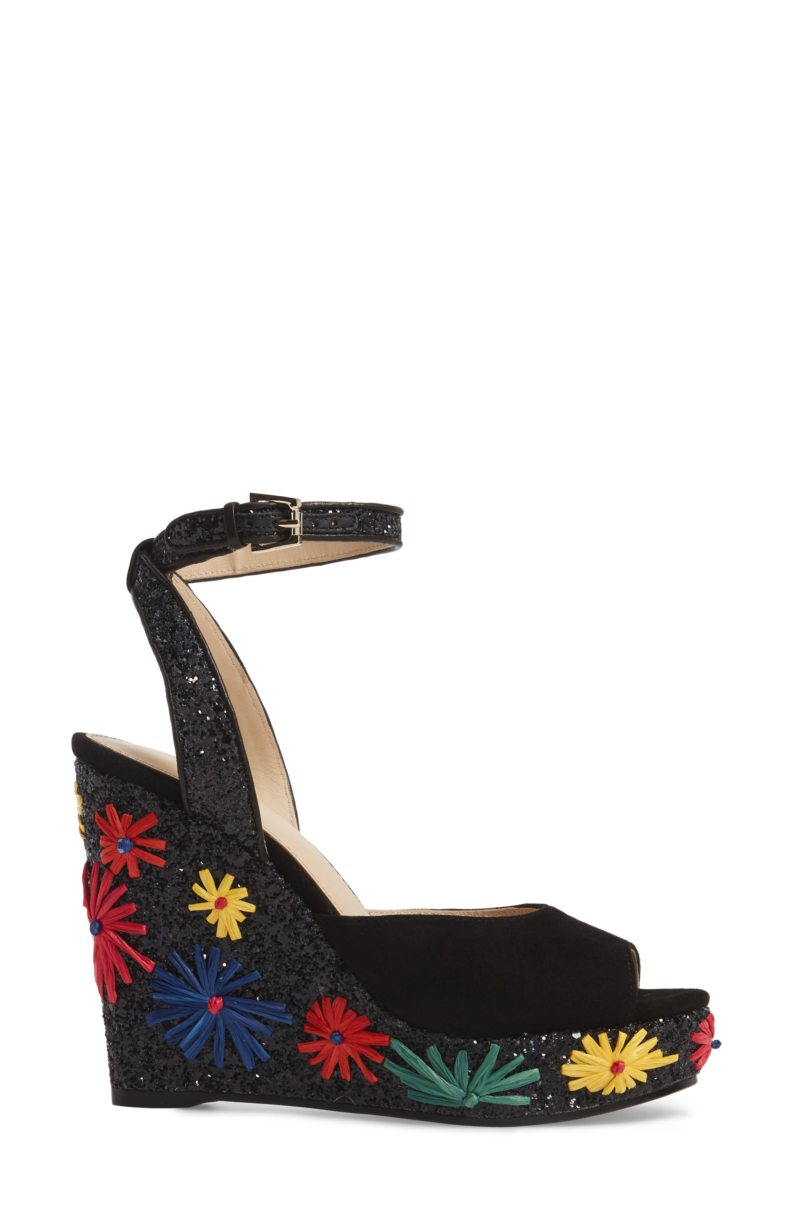 Jessie Wedge Sandal,                             Alternate thumbnail 3, color,                             BRIGHT FLORAL LEATHER