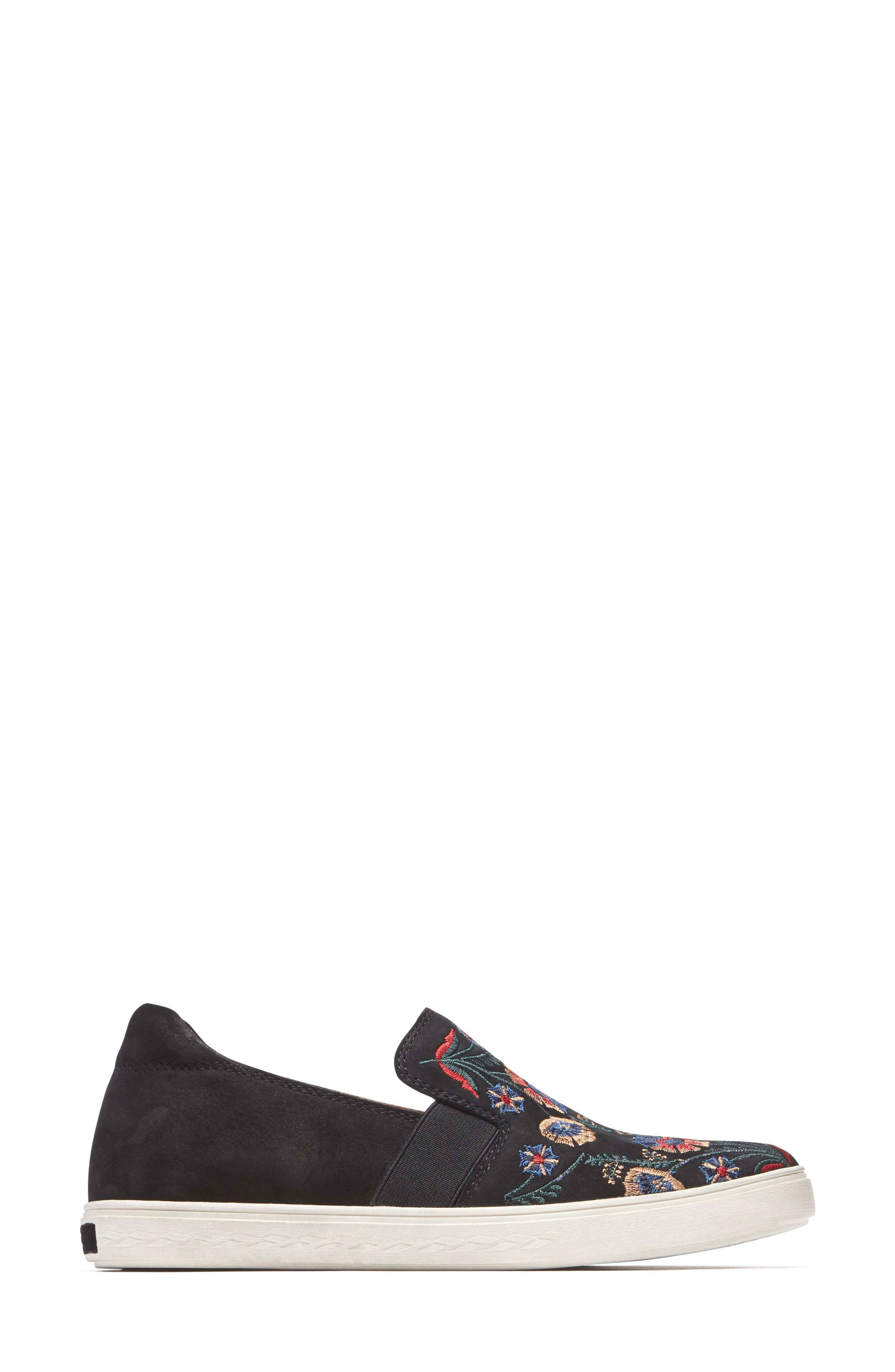 Cobb Hill Flower Embroidered Slip-On Sneaker,                             Alternate thumbnail 3, color,                             BLACK NUBUCK