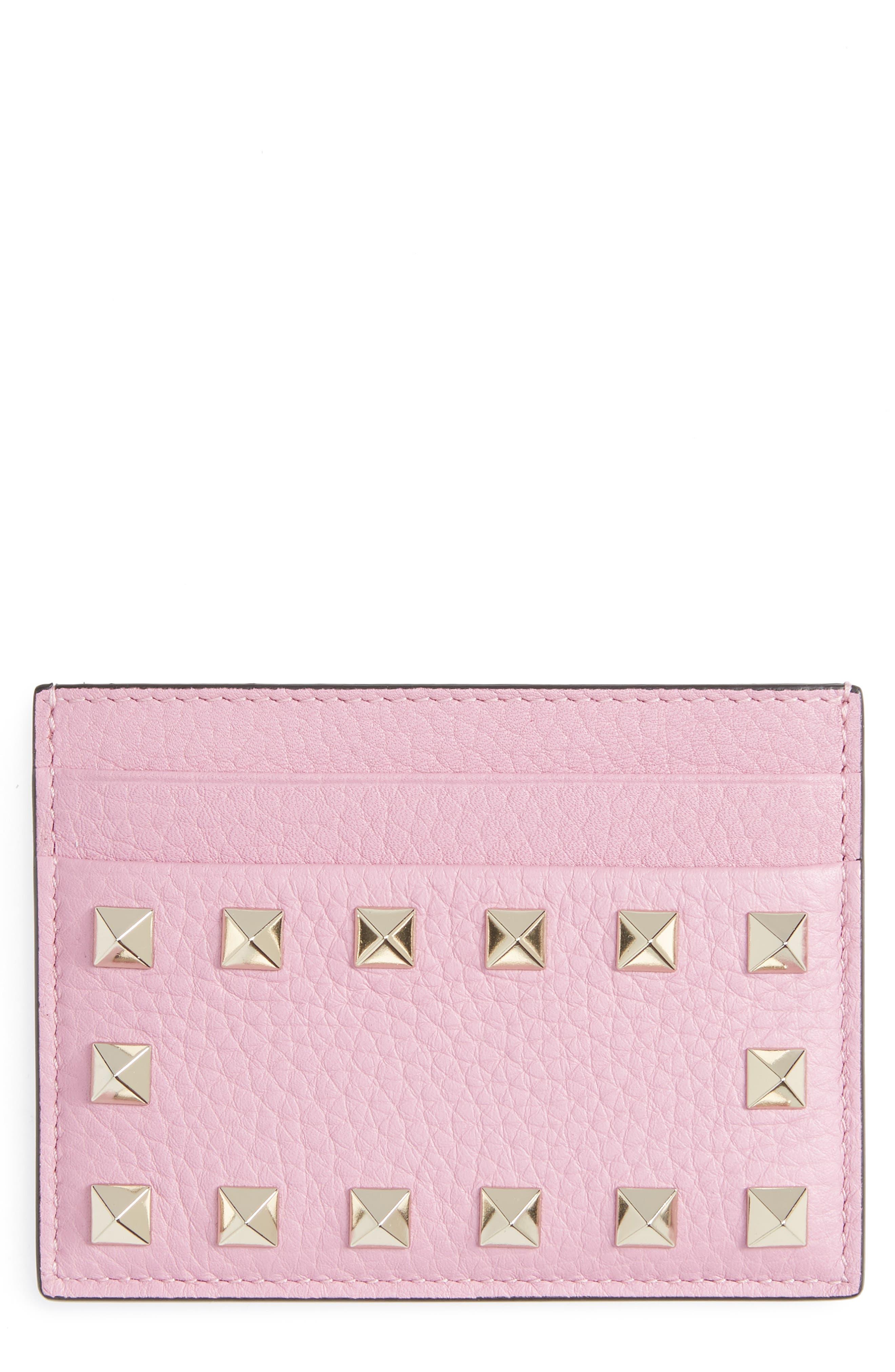 Rockstud Calfskin Leather Card Holder,                         Main,                         color, GIACINTO