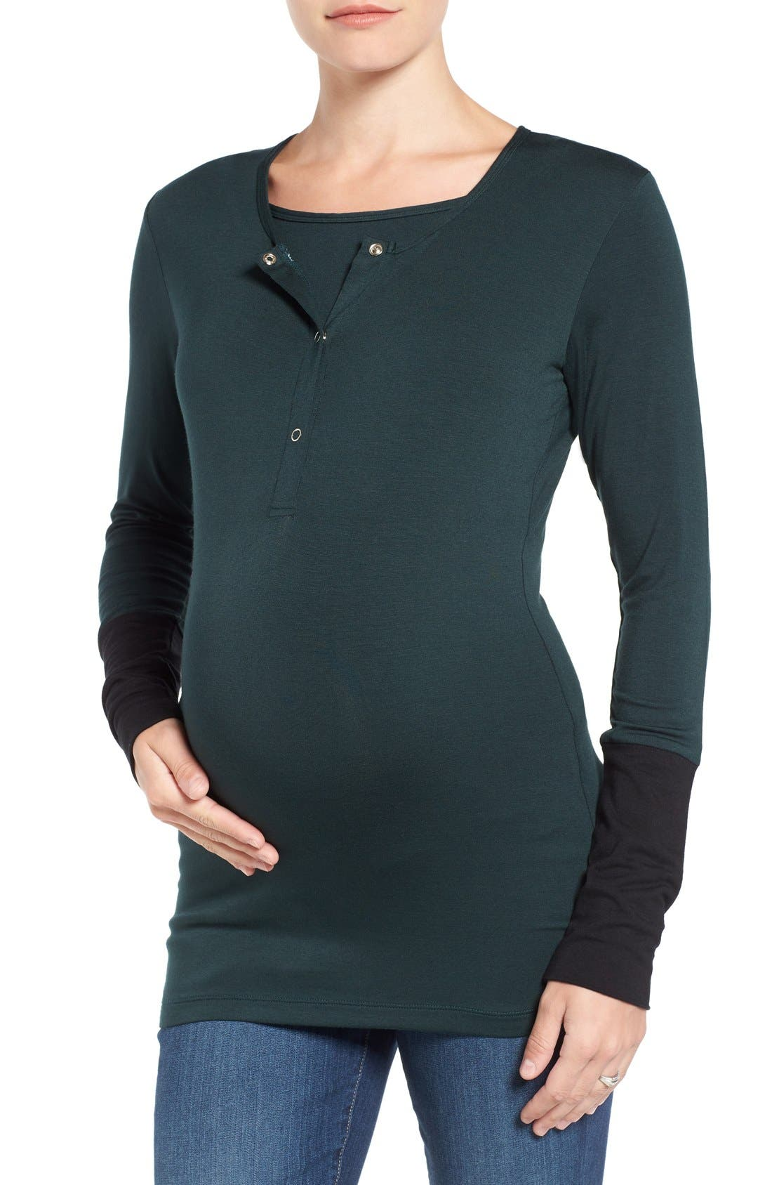 'Jenn' Maternity/Nursing Top,                             Main thumbnail 1, color,                             HUNTER W/ BLACK CUFF