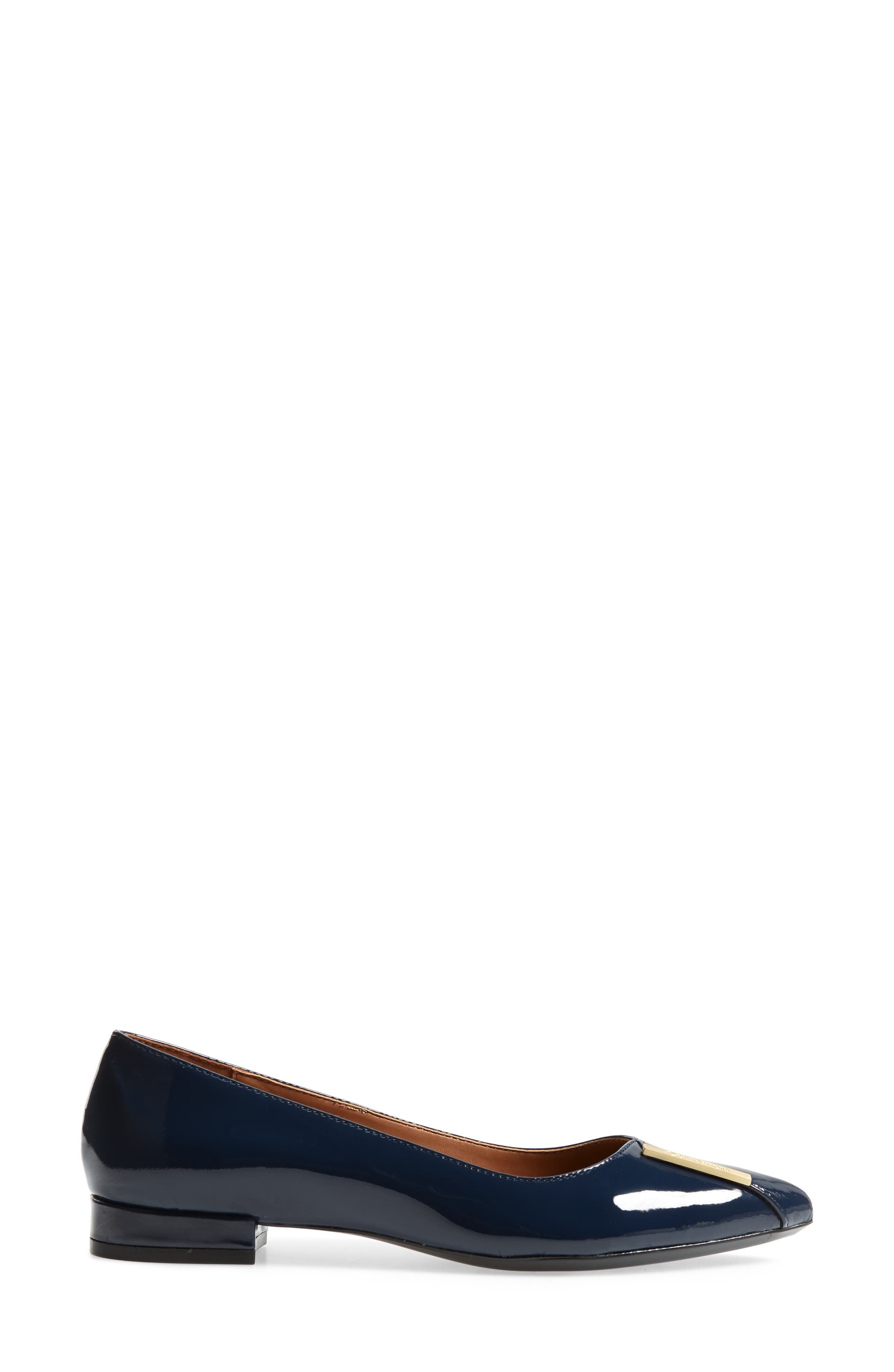 Arline Pointy Toe Flat,                             Alternate thumbnail 3, color,                             NAVY PATENT LEATHER