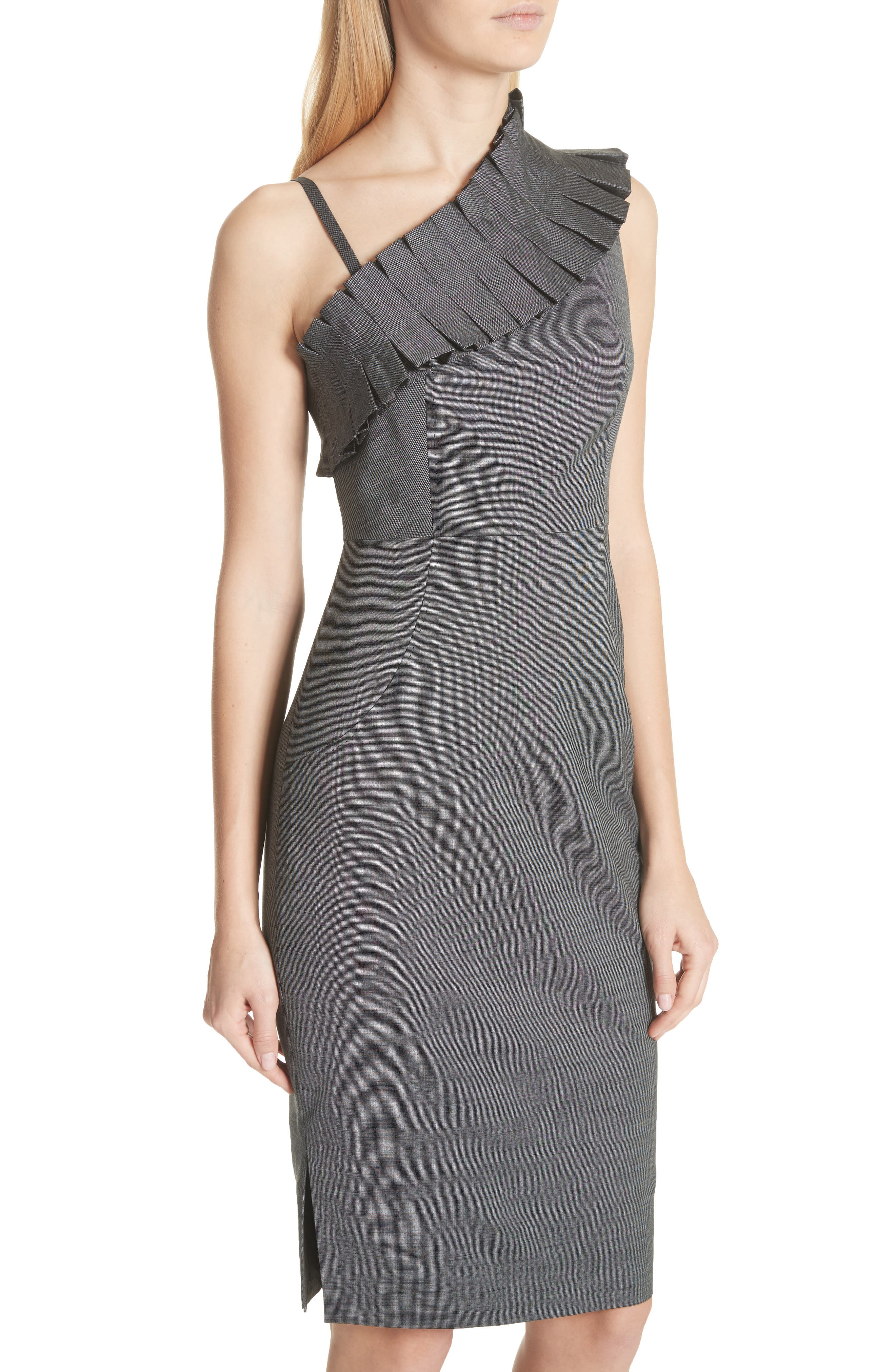 One-Shoulder Sheath Dress,                             Alternate thumbnail 4, color,                             030