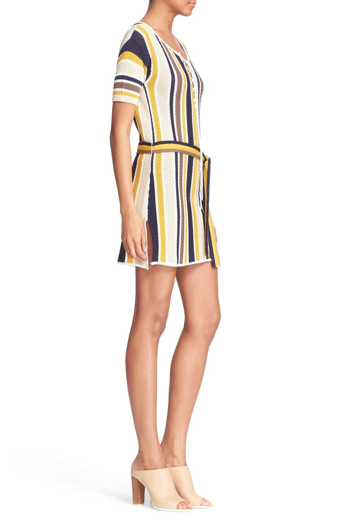 'Le Lace Up' Stripe Shirt Dress,                             Alternate thumbnail 3, color,                             120