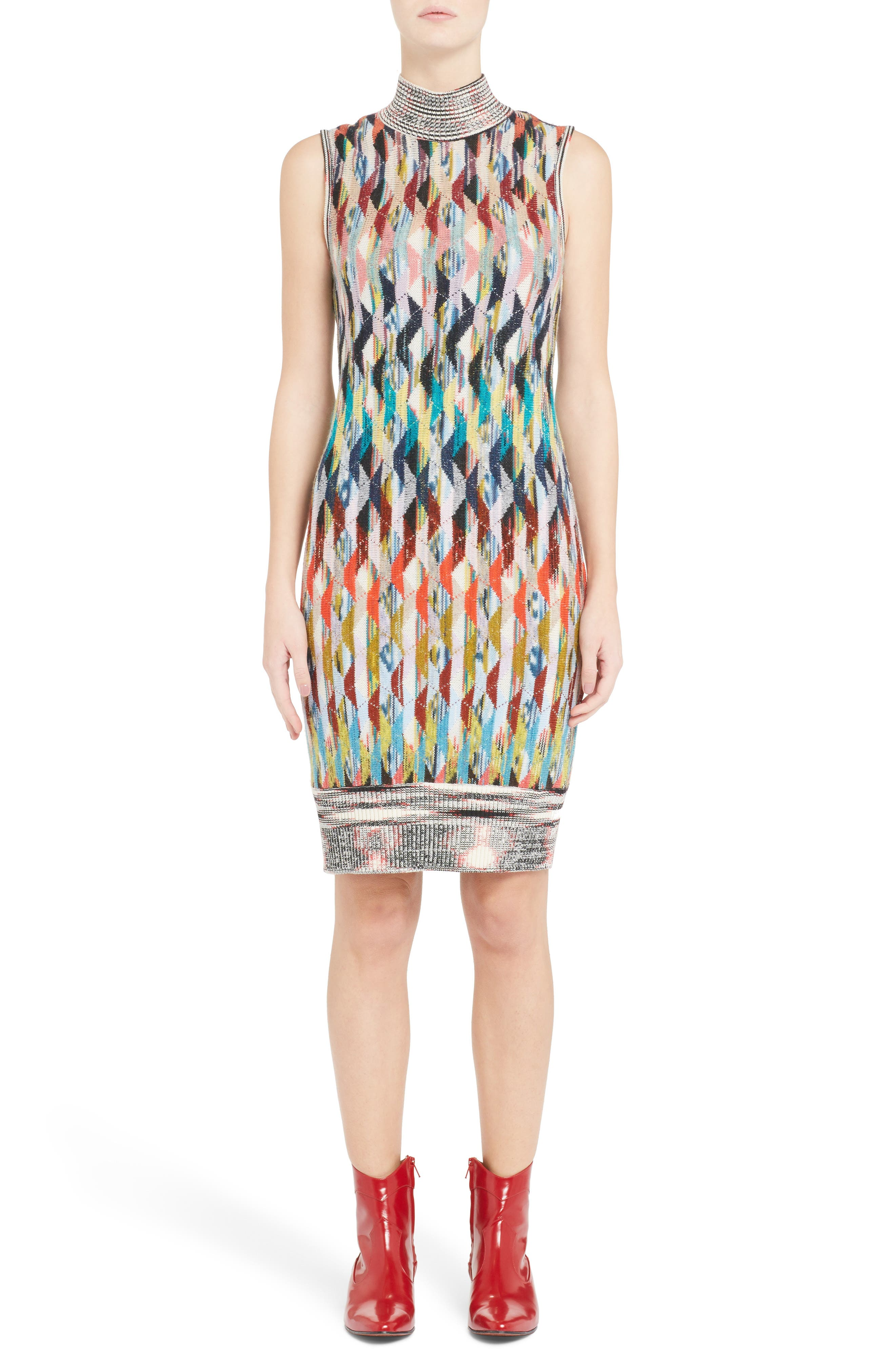 Knit Turtleneck Dress,                             Alternate thumbnail 5, color,                             MULTI