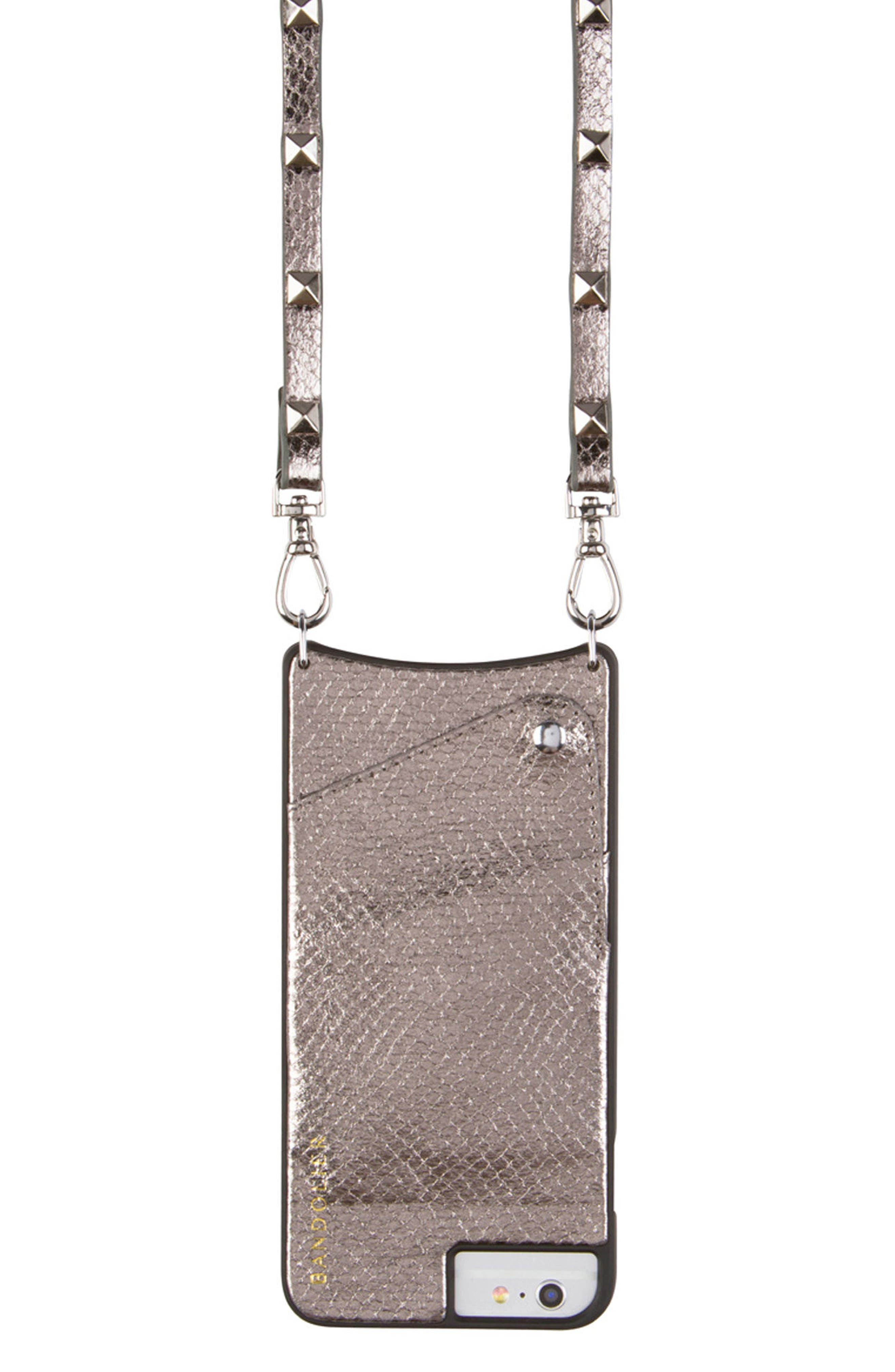 Sarah Metallic Faux Snakeskin iPhone 6/7/8 & 6/7/8 Plus Crossbody Case,                             Main thumbnail 1, color,                             PEWTER/ SILVER