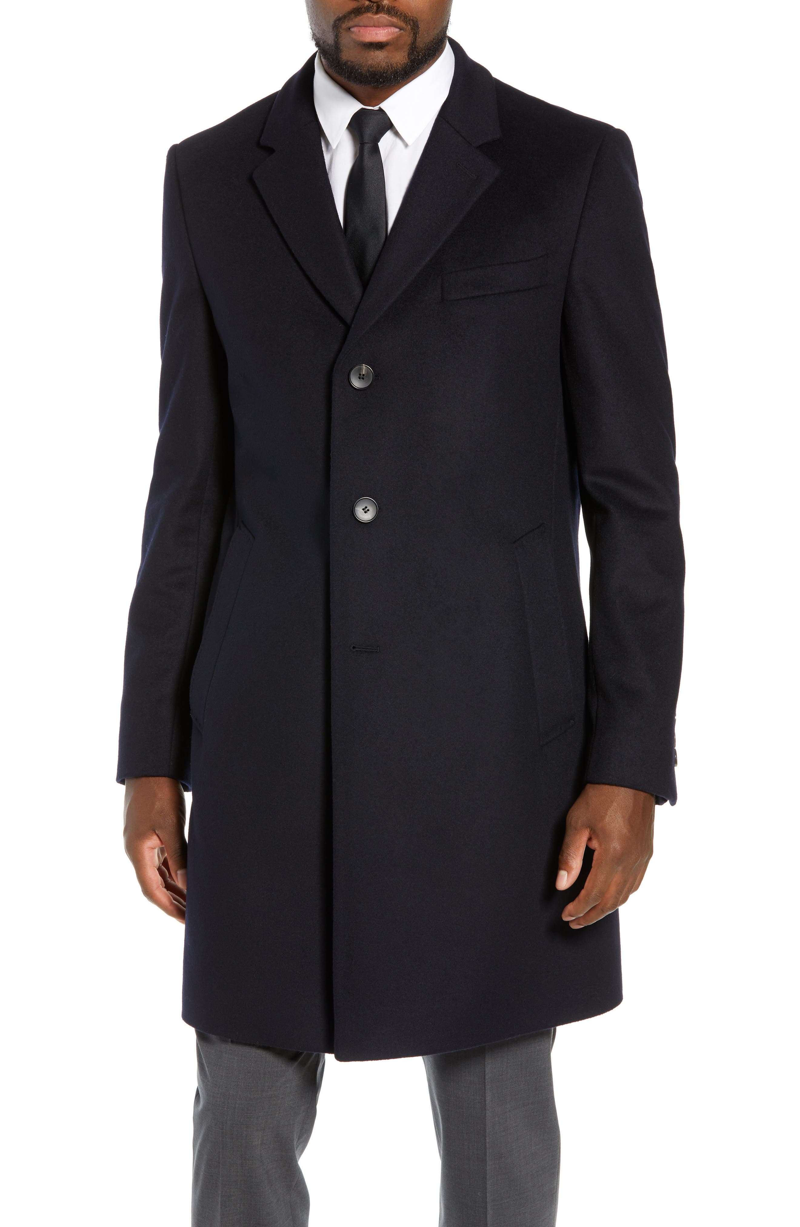 BOSS,                             Nye Regular Fit Solid Wool & Cashmere Topcoat,                             Alternate thumbnail 4, color,                             DARK BLUE