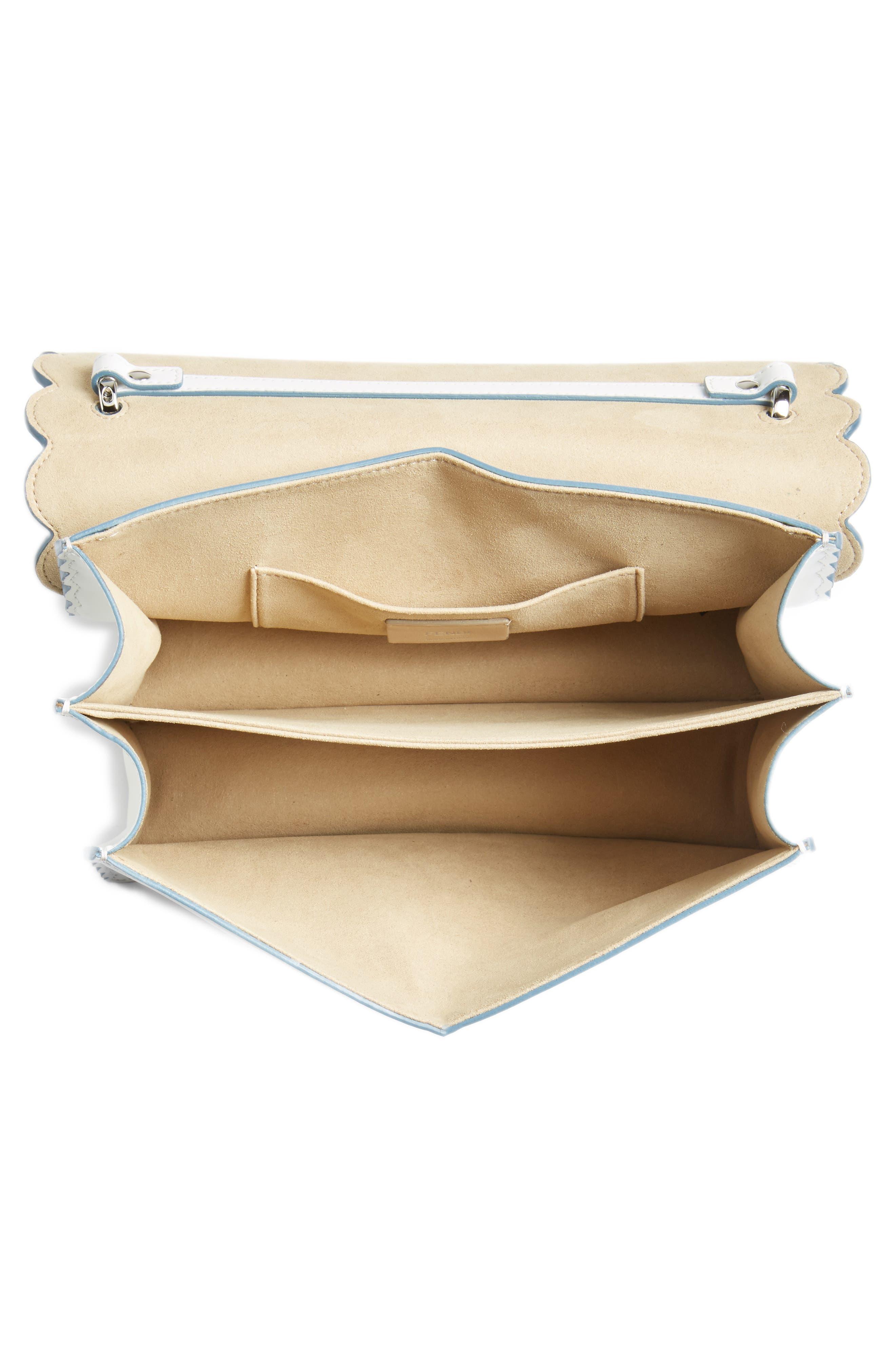 Kan I Scallop Leather Shoulder Bag,                             Alternate thumbnail 4, color,                             WHITE