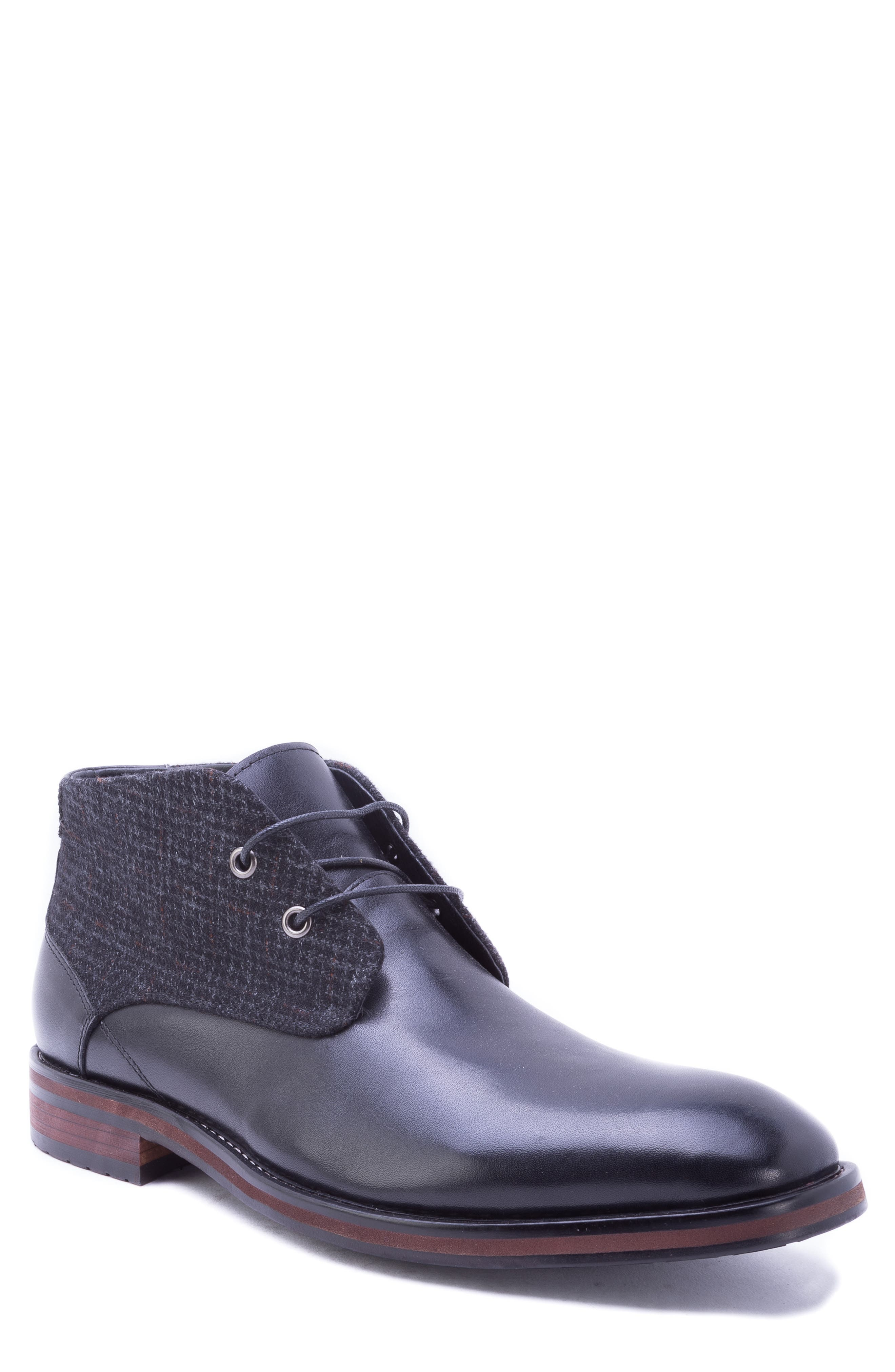 Nebot Chukka Boot,                         Main,                         color, BLACK LEATHER/ FABRIC