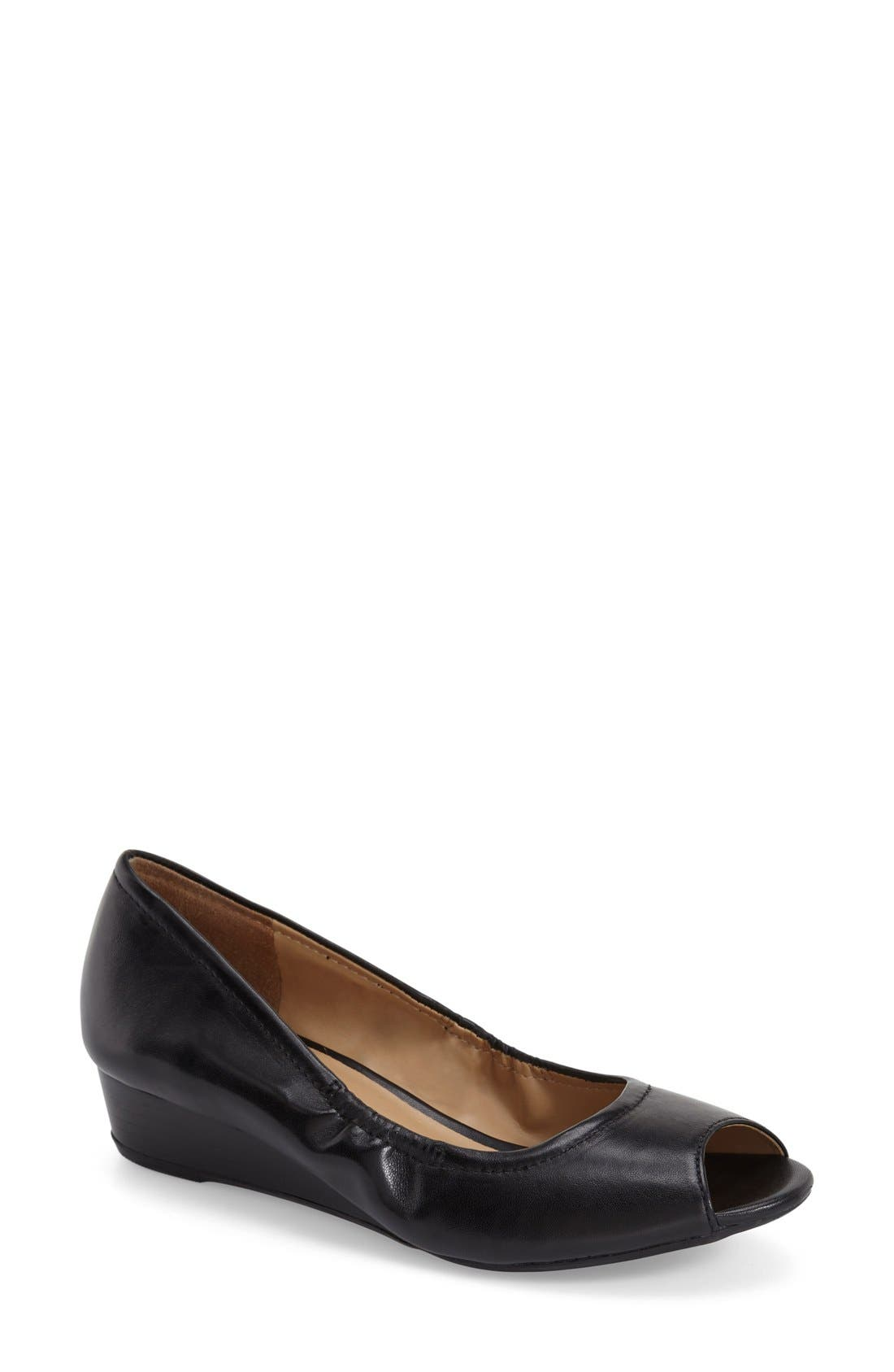 'Contrast' Peep Toe Wedge,                         Main,                         color, 001