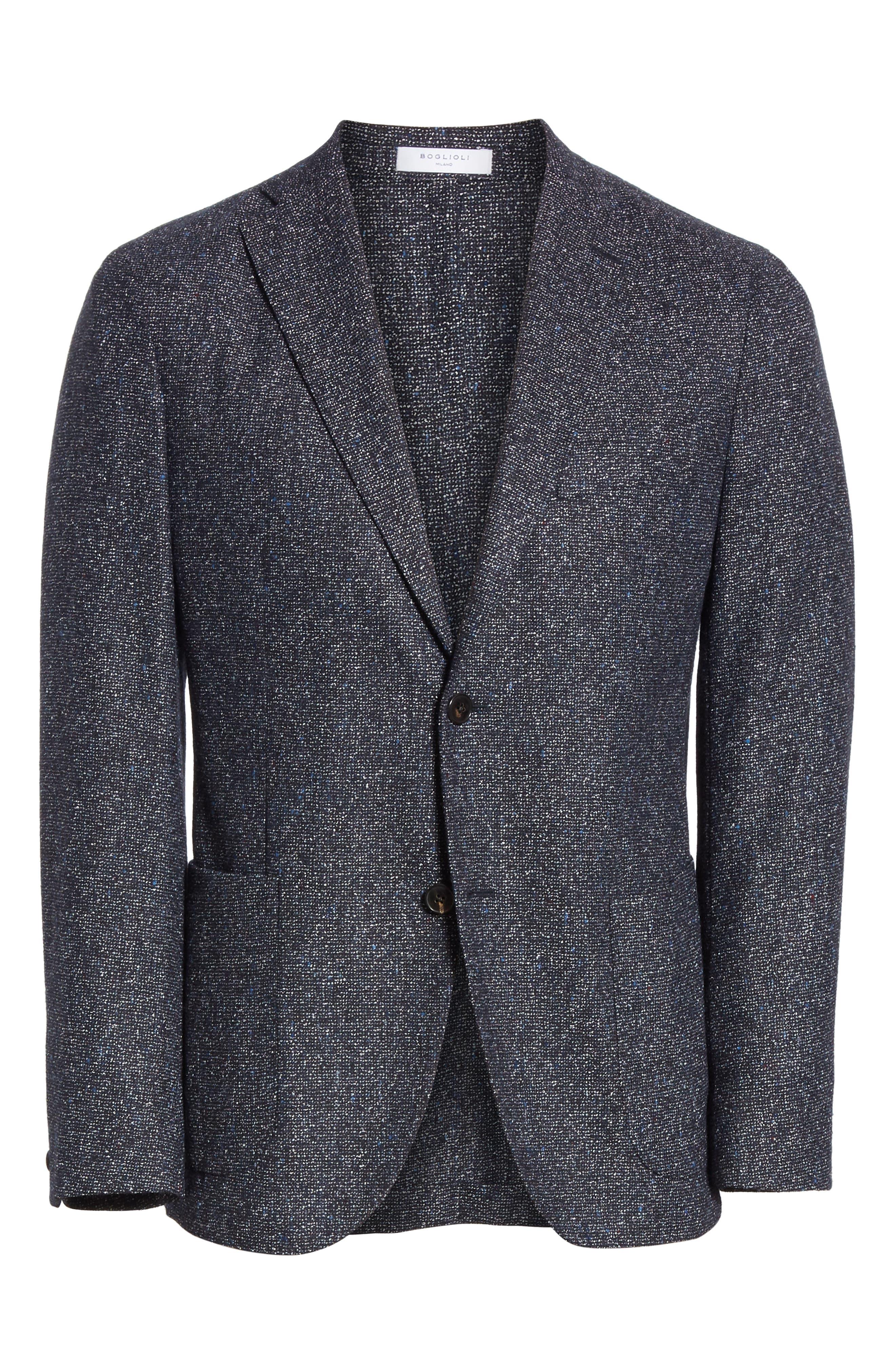 Trim Fit Tweed Wool Blend Blazer,                             Alternate thumbnail 5, color,                             NAVY