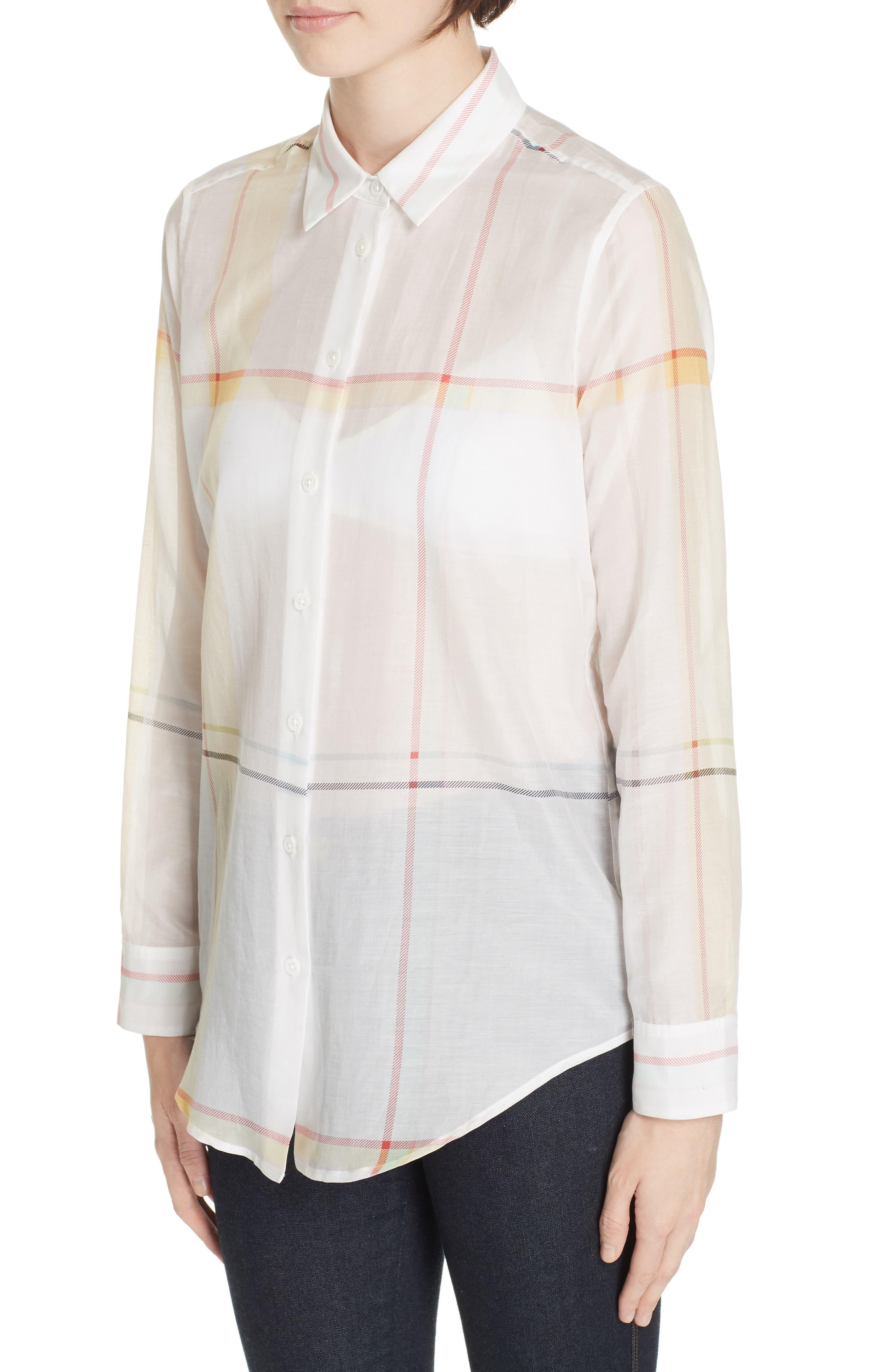 Essential Plaid Cotton & Silk Shirt,                             Alternate thumbnail 4, color,                             NATURE WHITE MULTI