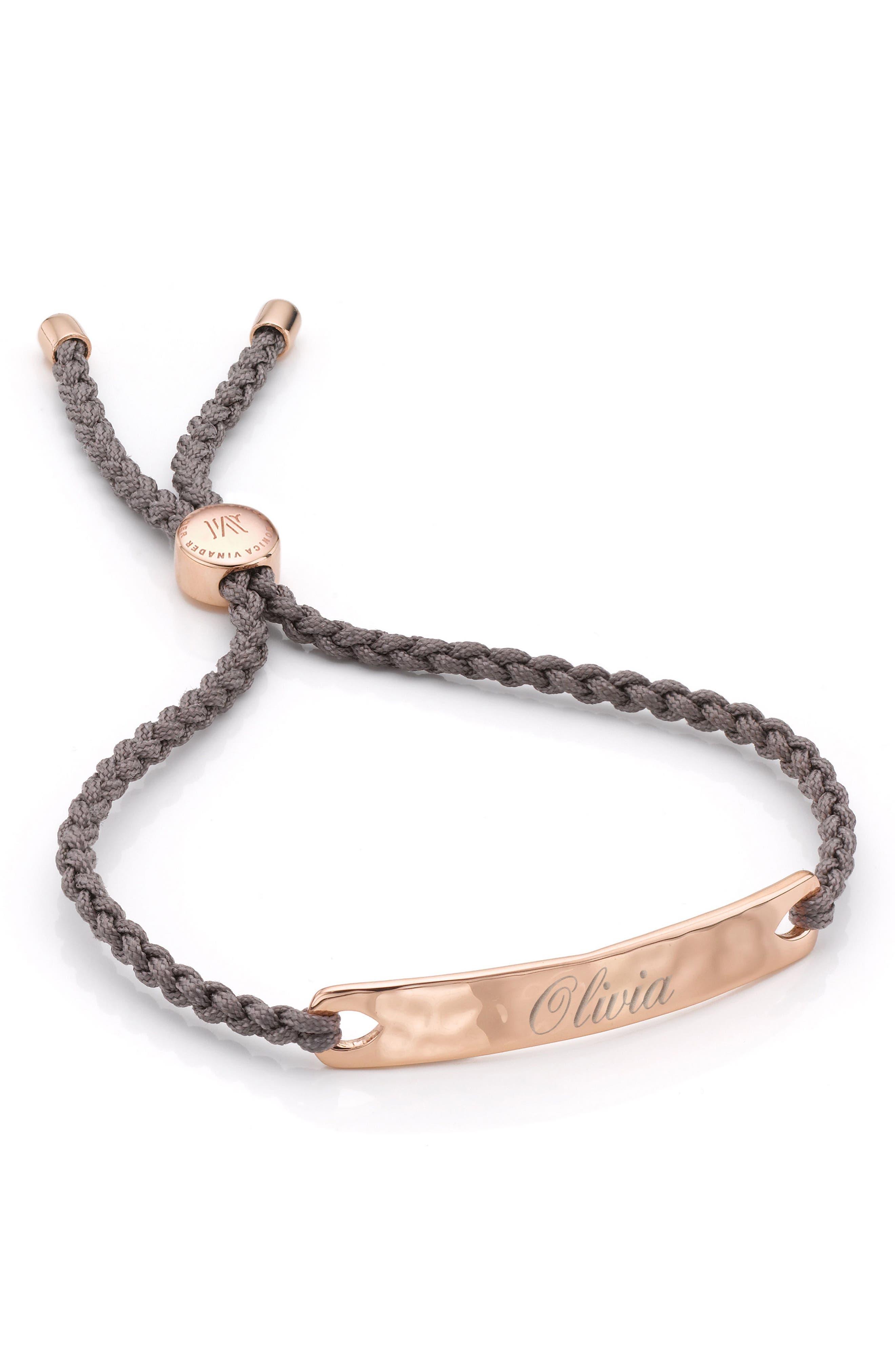 Engravable HavanaFriendship Bracelet,                             Alternate thumbnail 3, color,                             ROSE GOLD/ MINK