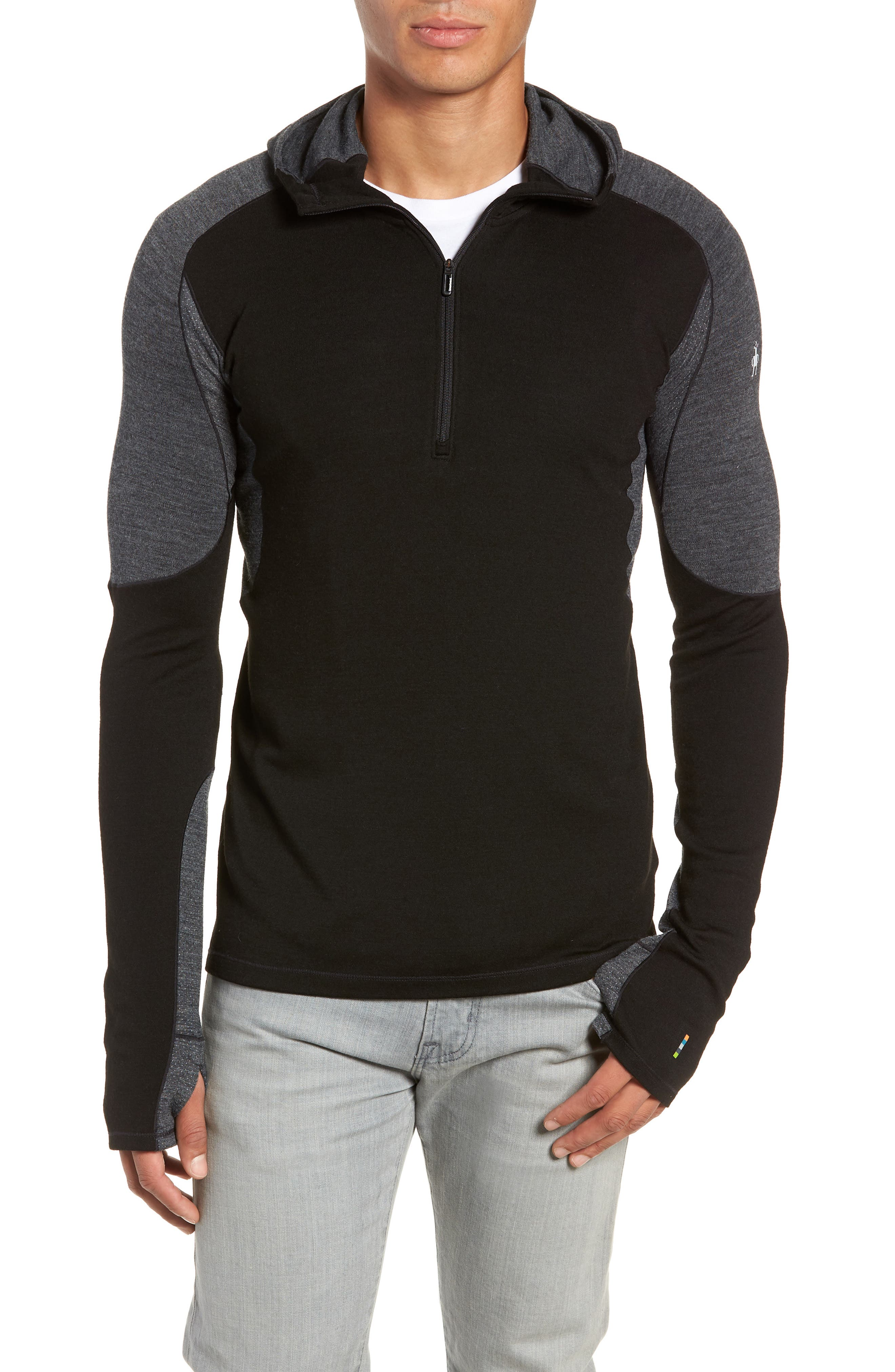 PhD<sup>®</sup> Light Merino Wool Blend Hooded Pullover,                         Main,                         color, BLACK