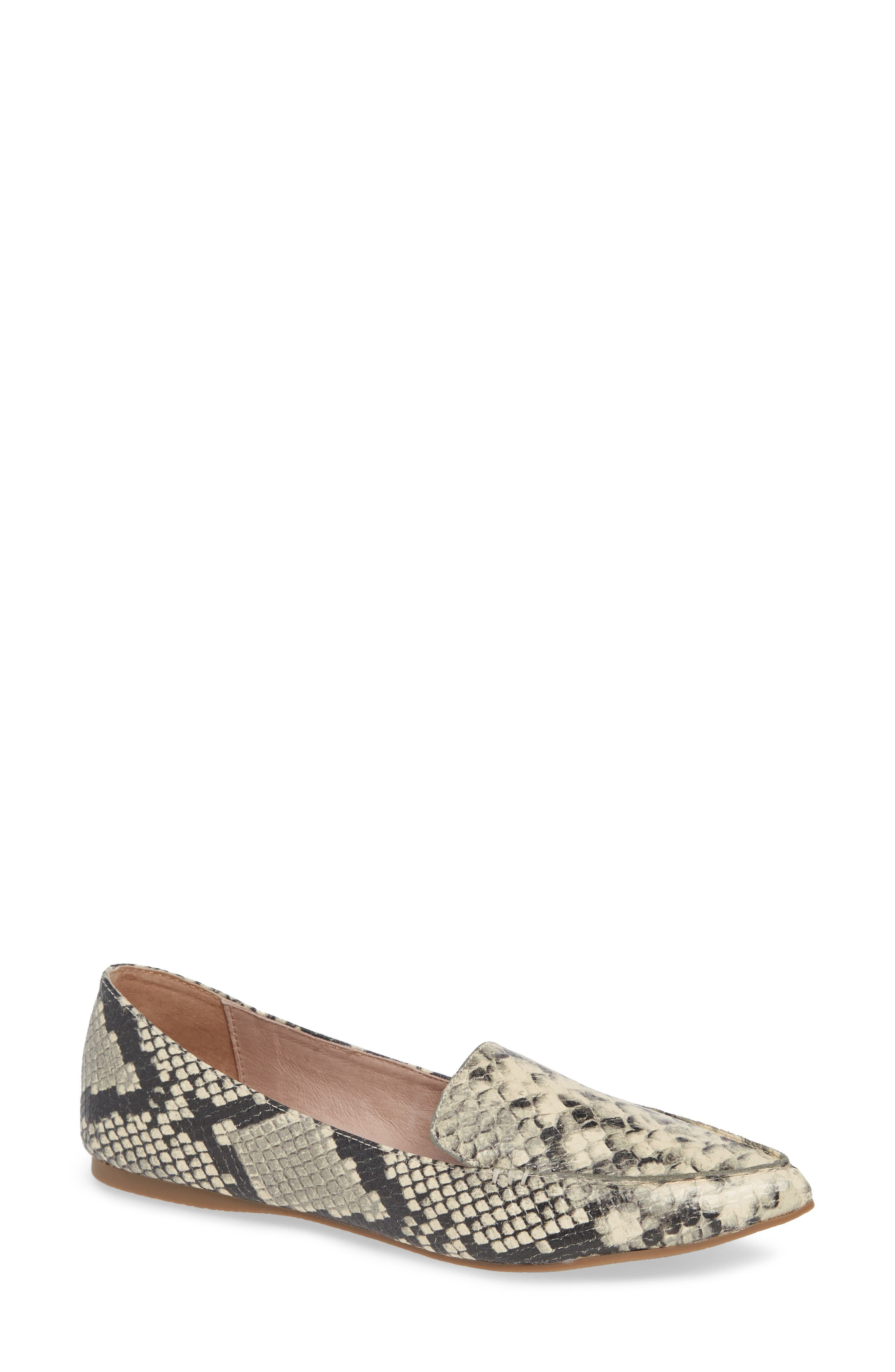 Feather Loafer Flat,                             Main thumbnail 1, color,                             SNAKE PRINT LEATHER