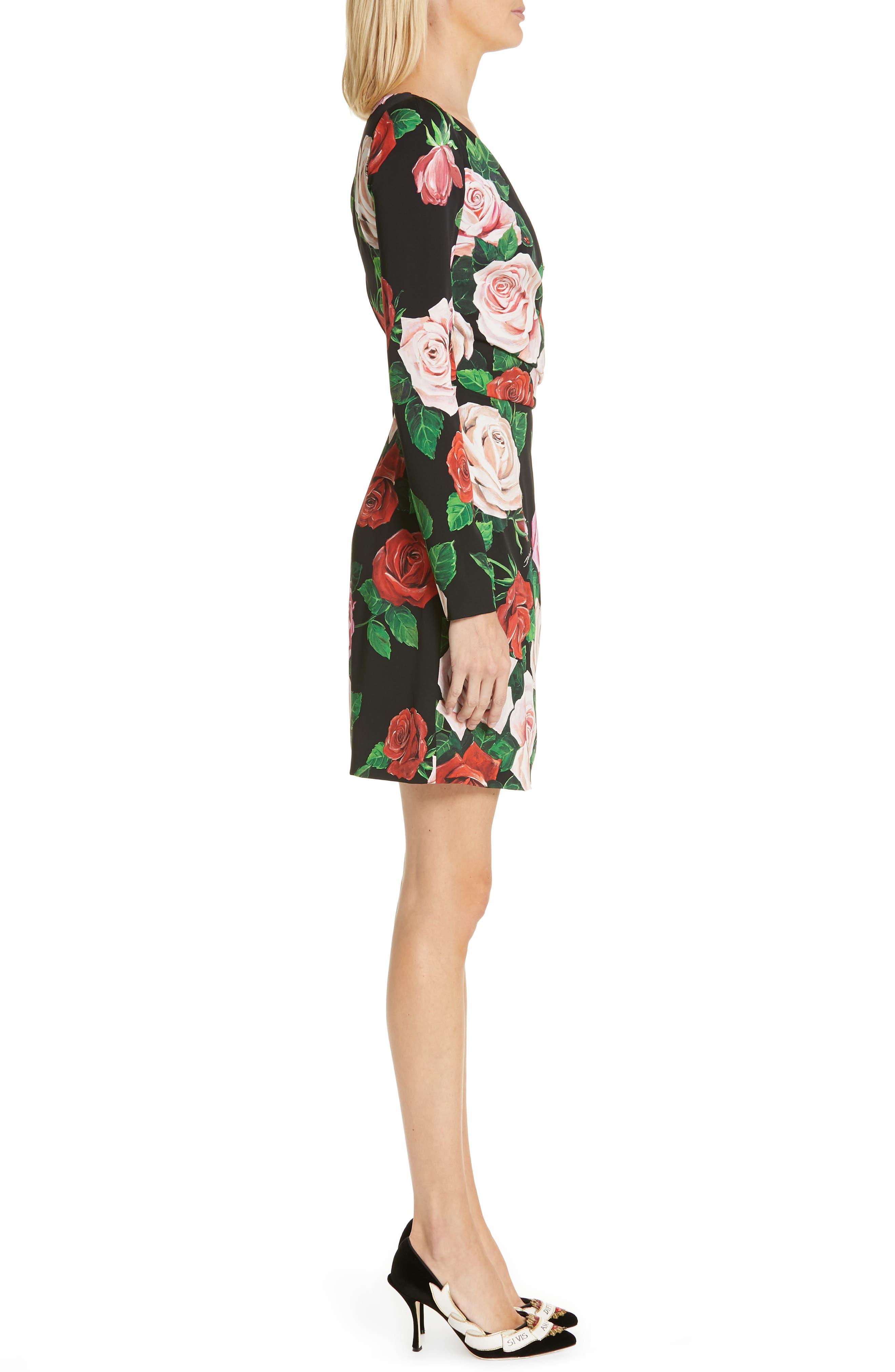Rose Print Stretch Silk Dress,                             Alternate thumbnail 3, color,                             BLACK ROSE