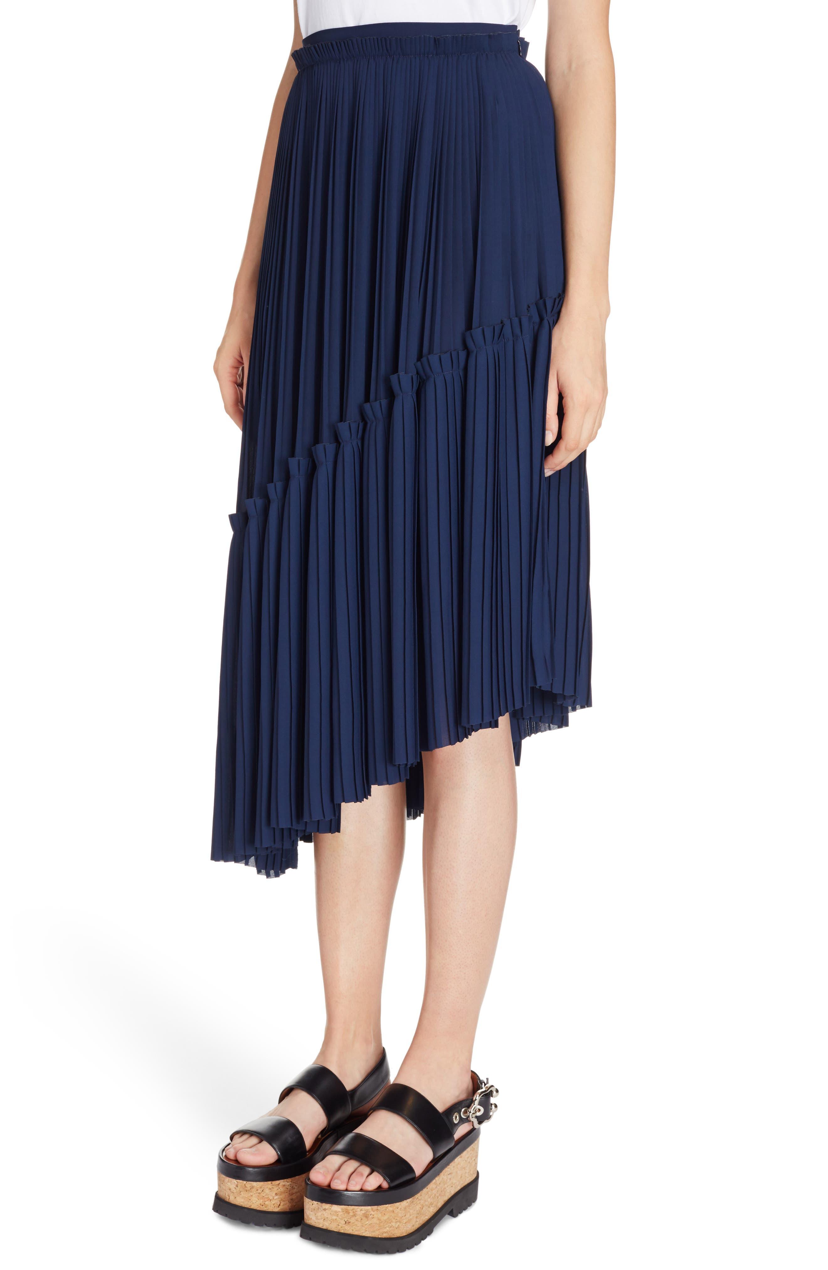 Asymmetrical Pleated Midi Skirt,                             Alternate thumbnail 4, color,                             402