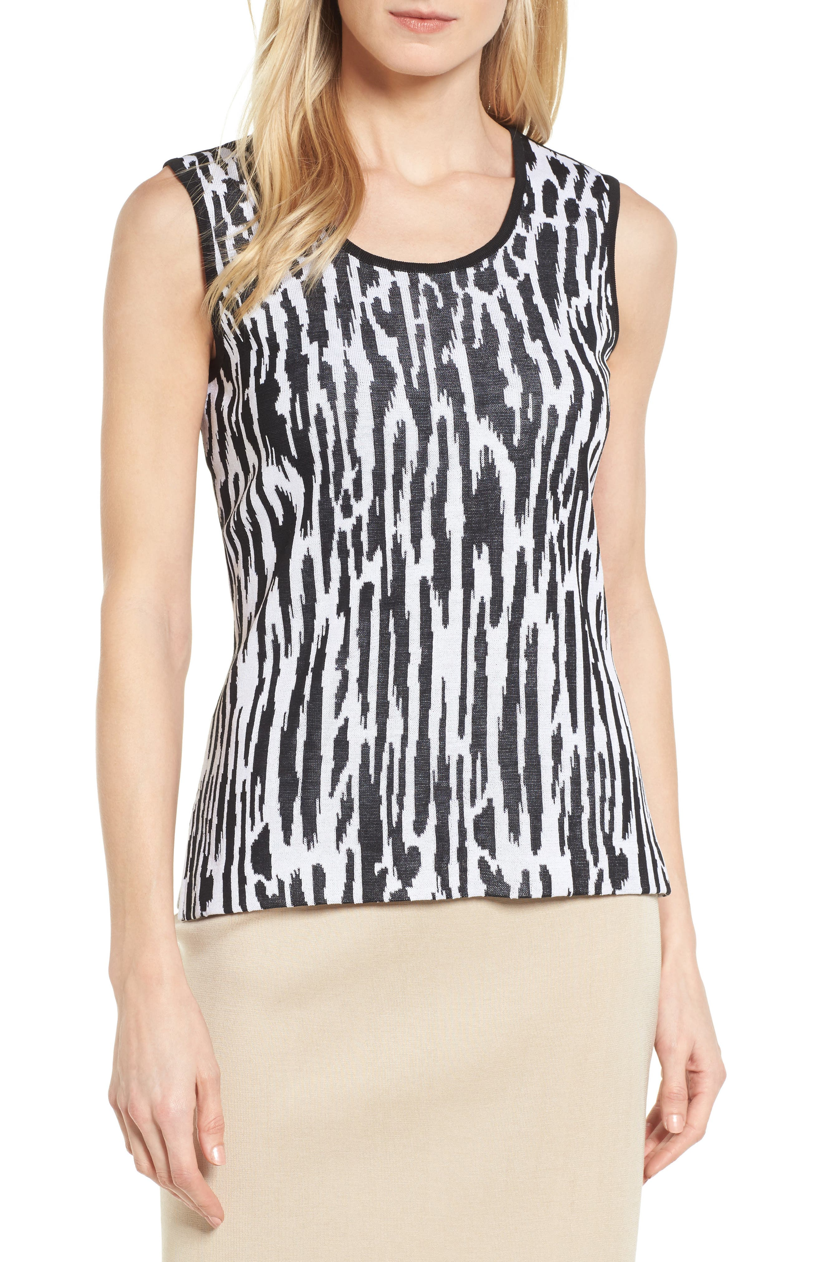 Animal Pattern Knit Tank,                         Main,                         color, 002