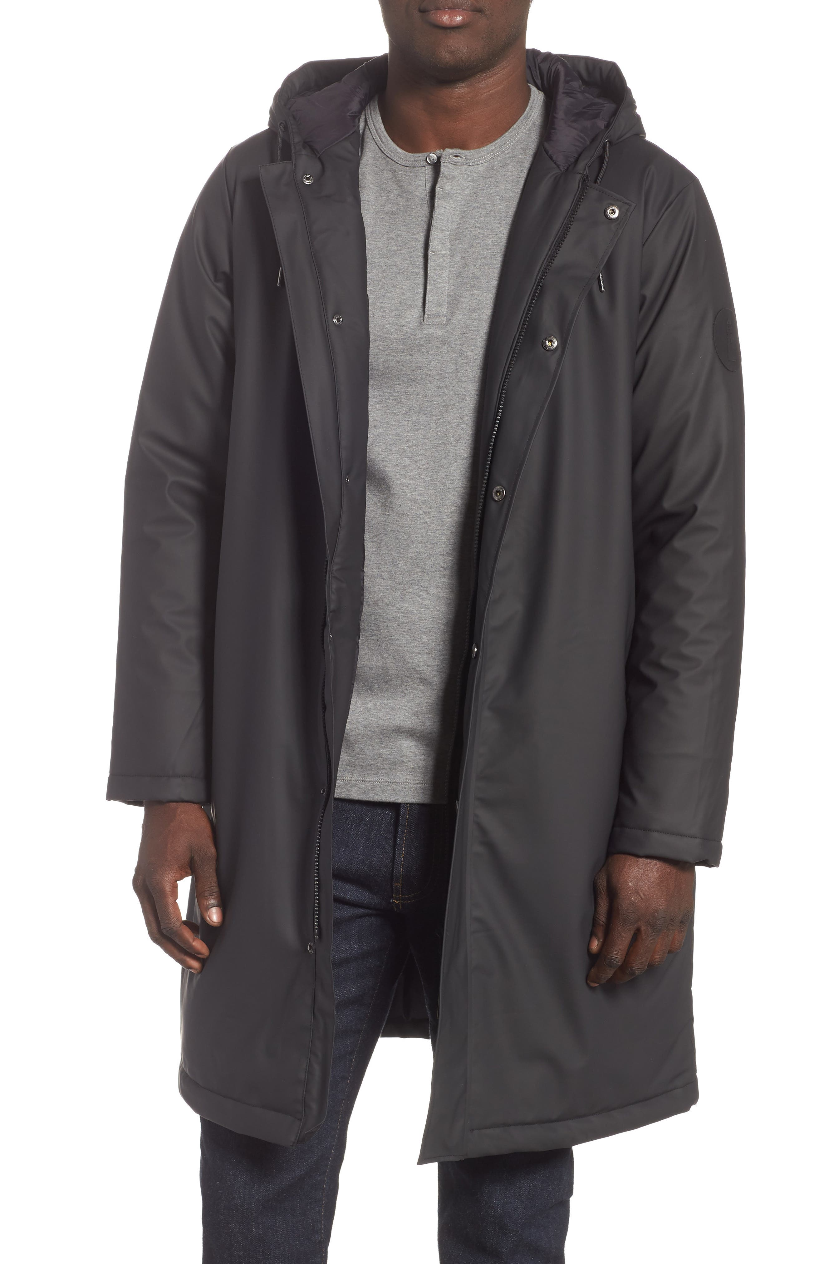 Thermal Hooded Raincoat,                             Main thumbnail 1, color,                             BLACK