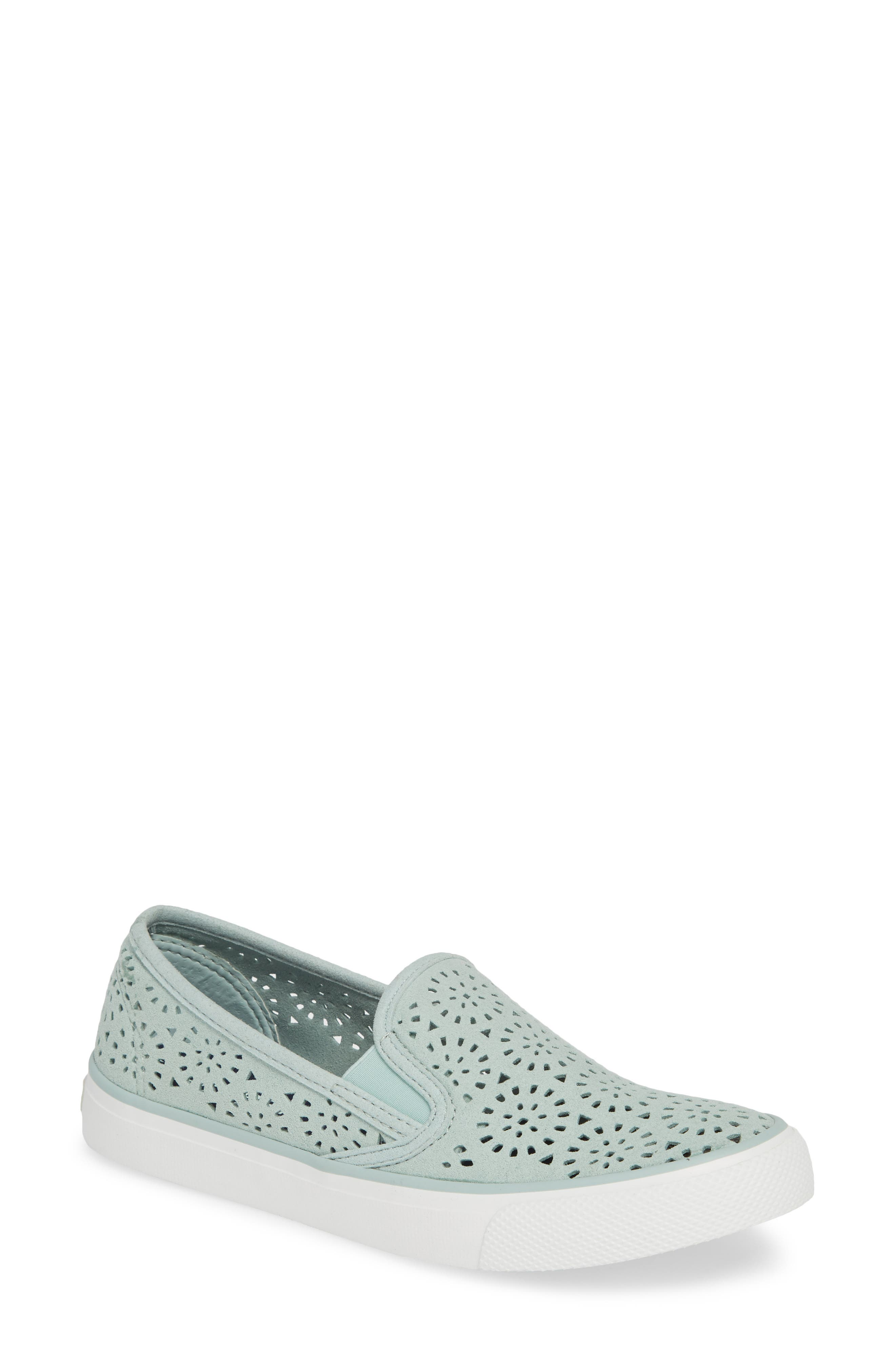 Seaside Nautical Perforated Slip-On Sneaker,                             Main thumbnail 1, color,                             MINT NUBUCK LEATHER