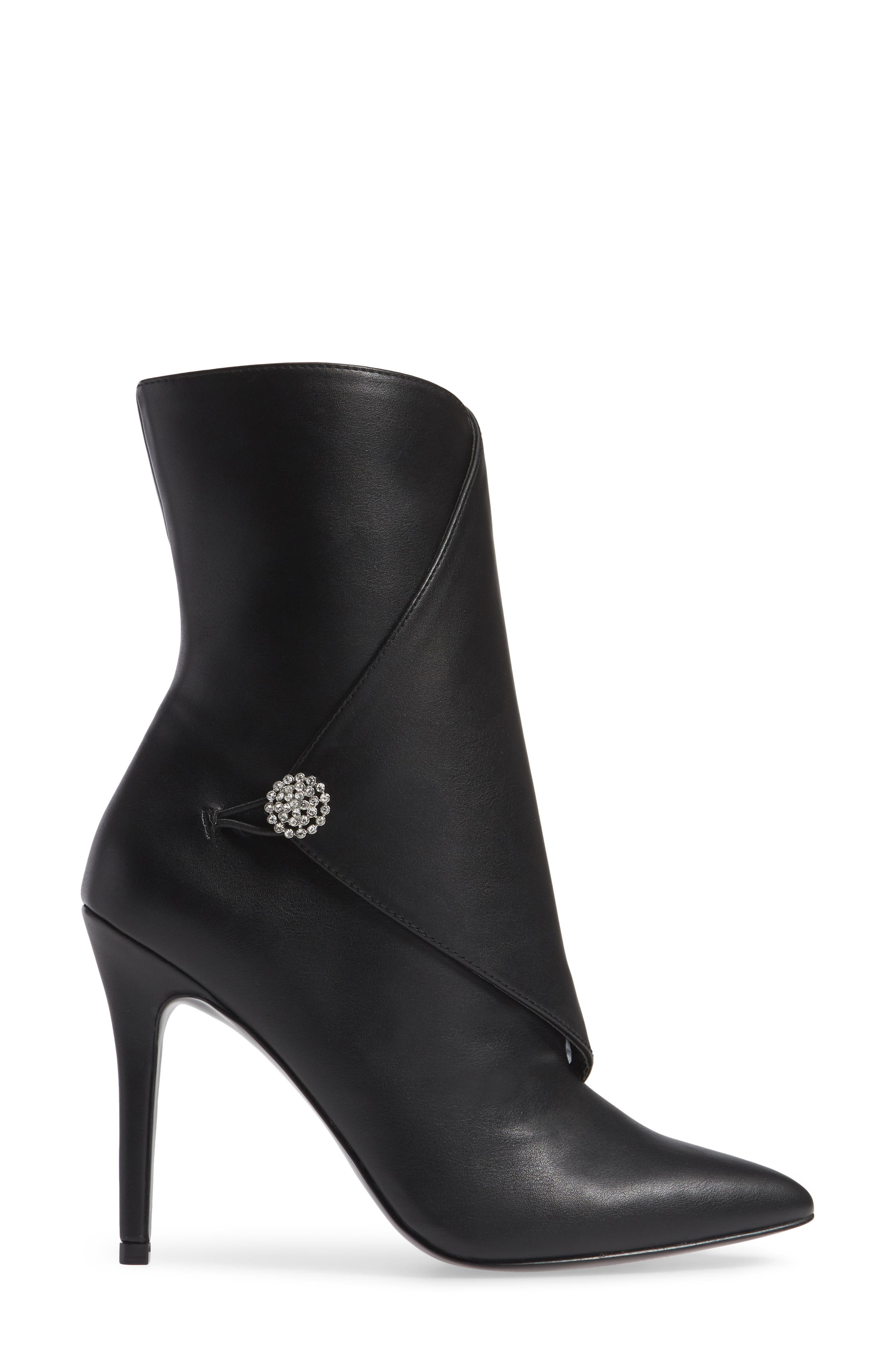 Pistol Crystal Embellished Pointy Toe Bootie,                             Alternate thumbnail 3, color,                             BLACK SYNTHETIC
