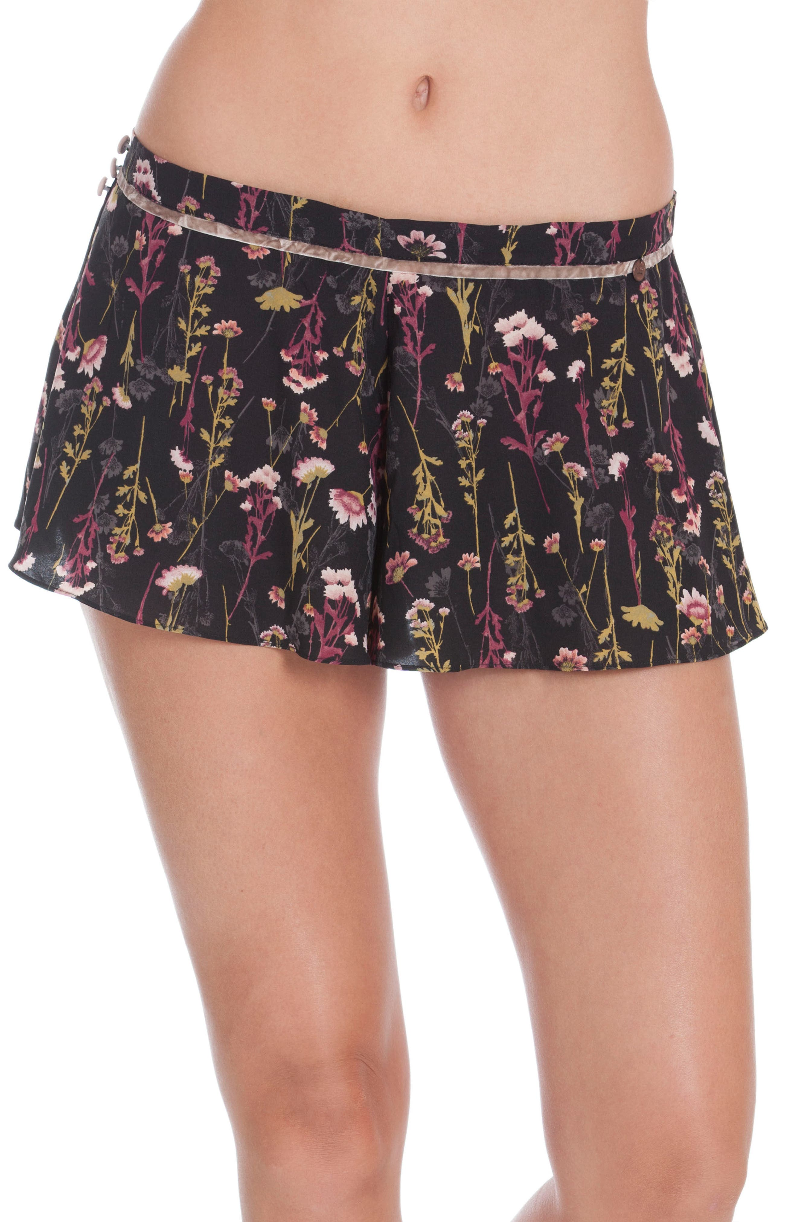 Floral Print Lounge Shorts,                             Main thumbnail 1, color,                             001