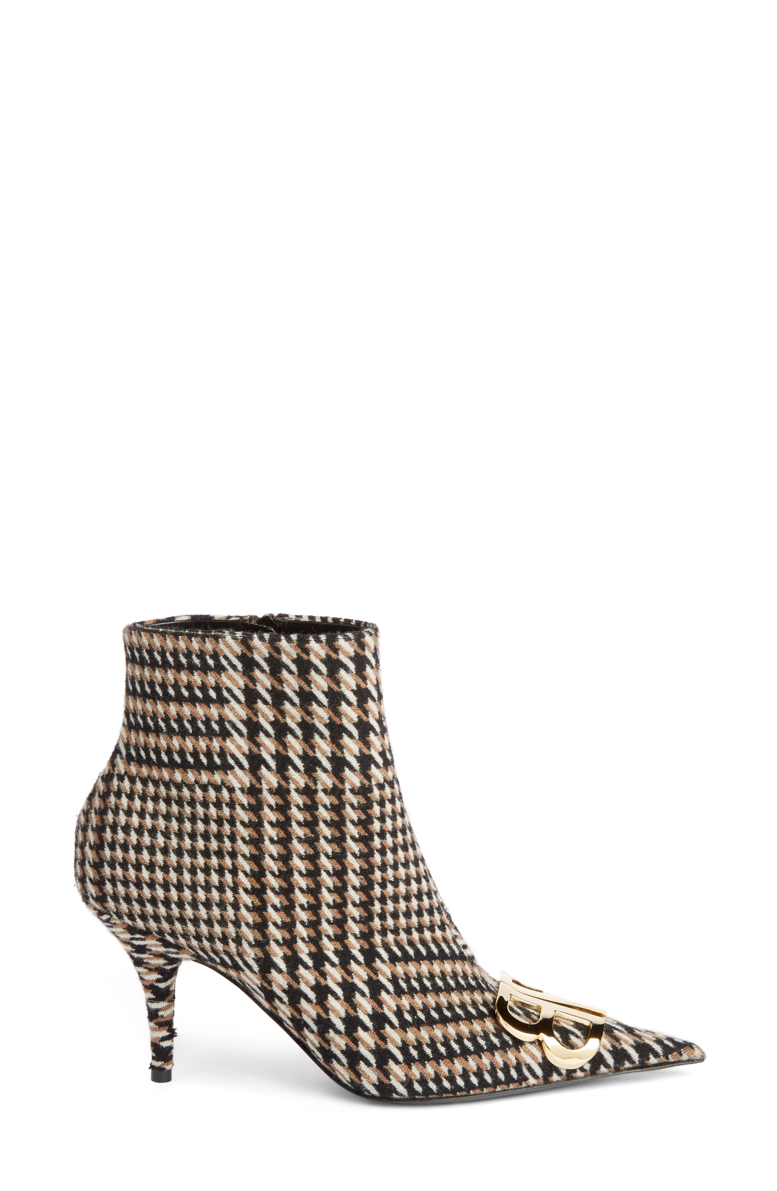 BB Pointy Toe Bootie,                             Alternate thumbnail 3, color,                             BLACK/ WHITE/ CAMEL