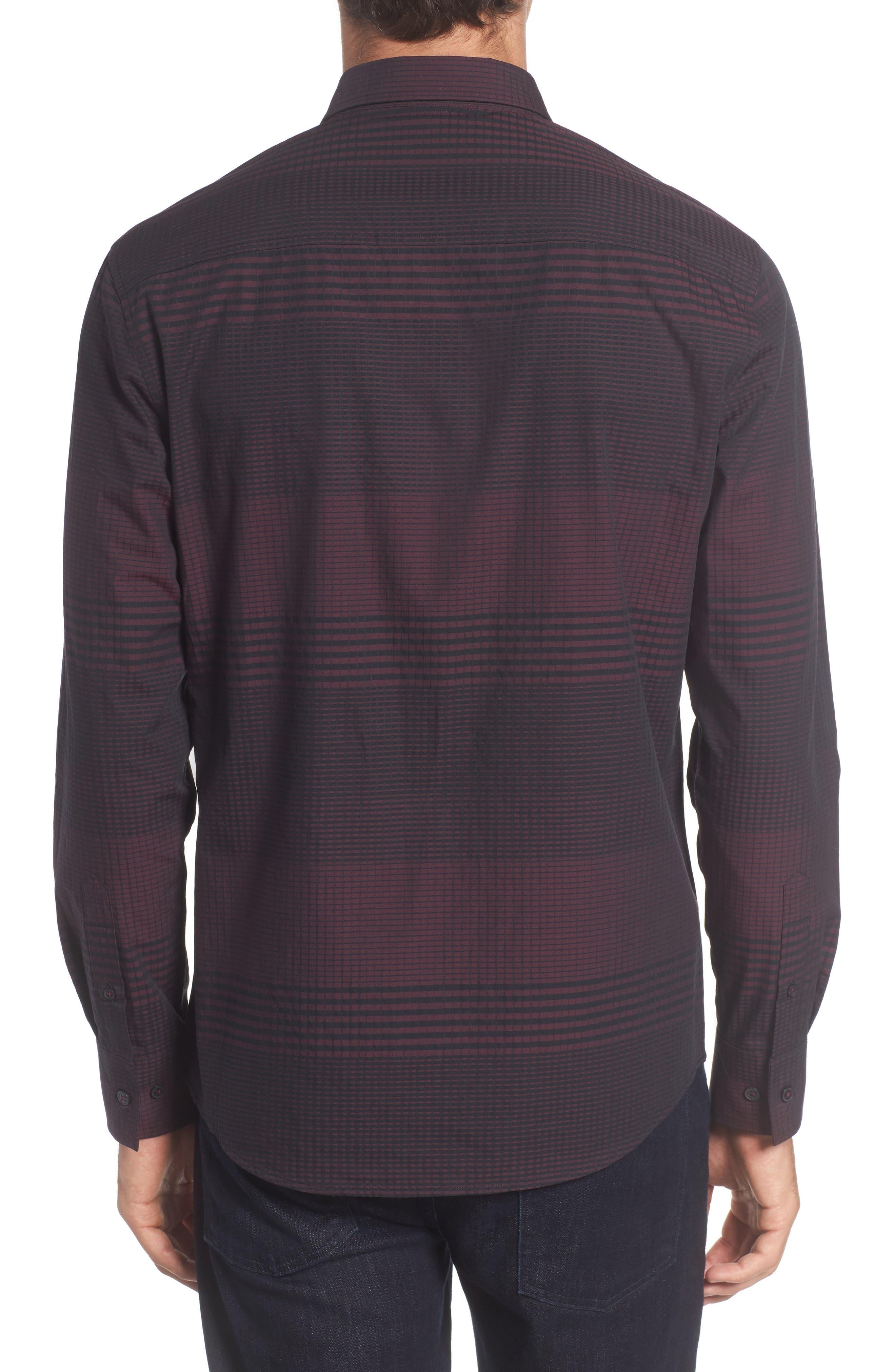 Slim Fit Check Plaid Sport Shirt,                             Alternate thumbnail 2, color,                             BURGUNDY/ BLACK CHECK PLAID