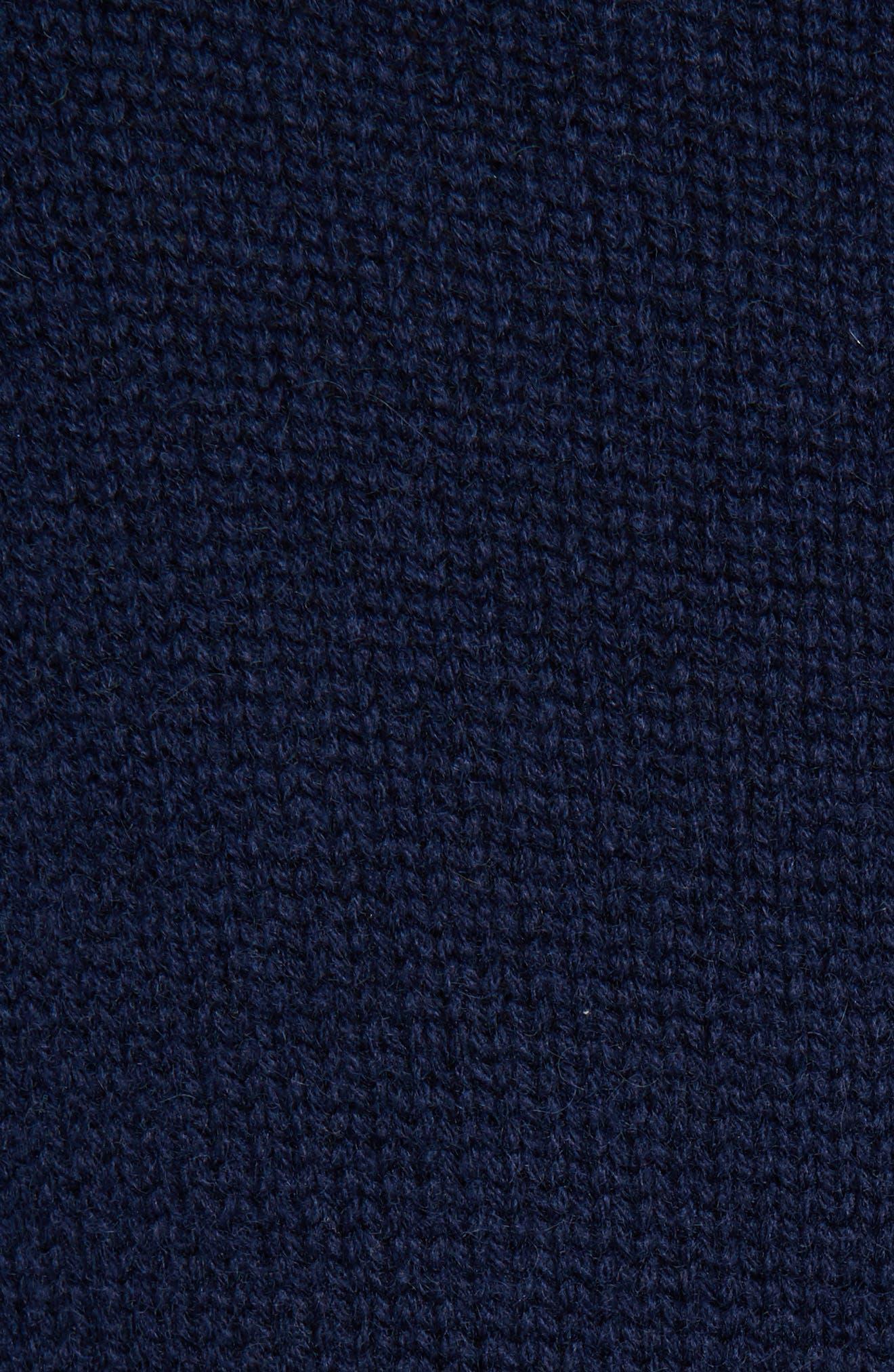 Side Slit Cashmere Sweater,                             Alternate thumbnail 5, color,                             NAVY MEDIEVAL