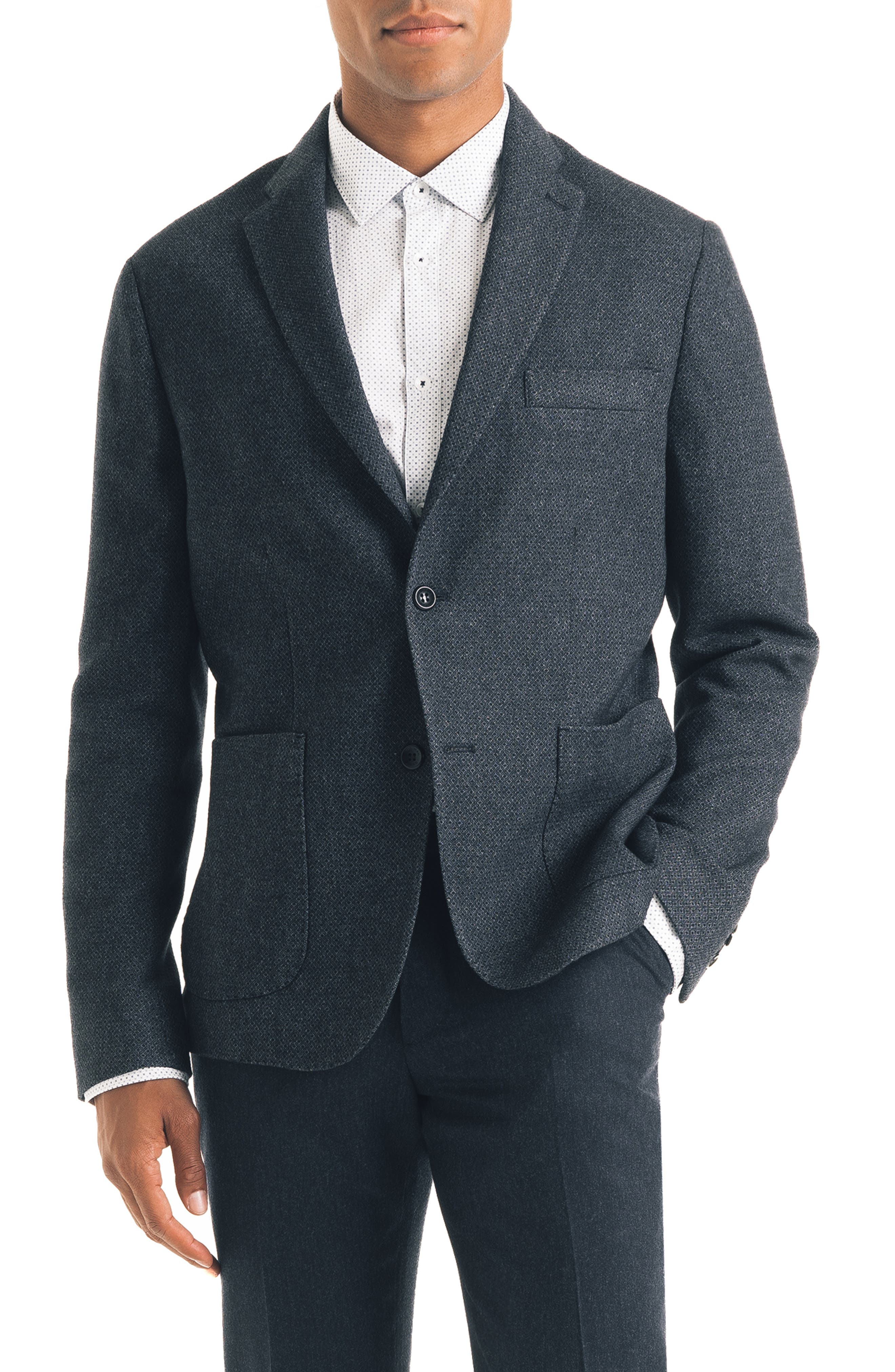 Downtown Trim Fit Print Wool Blend Sport Coat,                         Main,                         color, NAVY