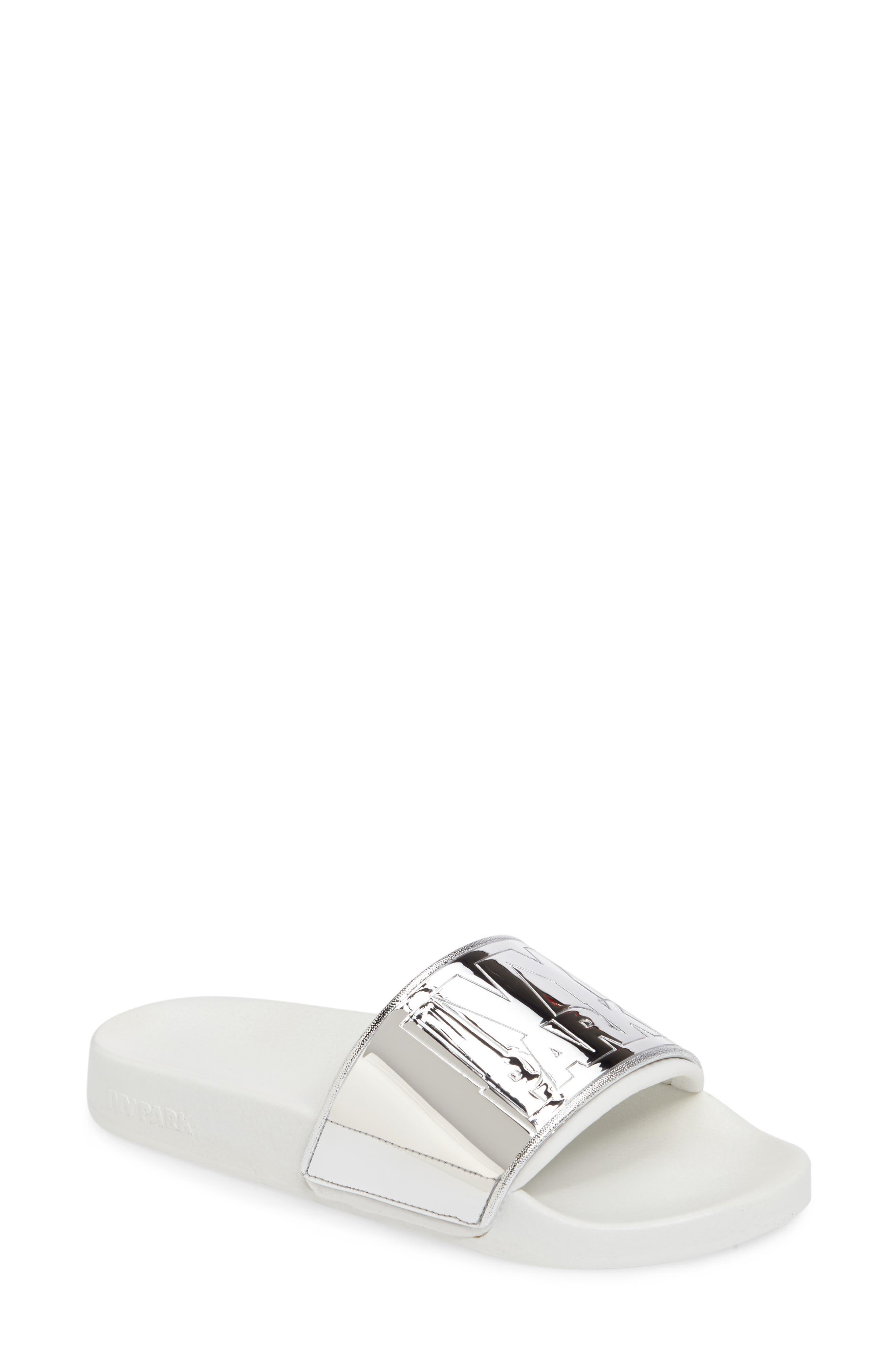 Mirror Logo Slide Sandal,                         Main,                         color, 100