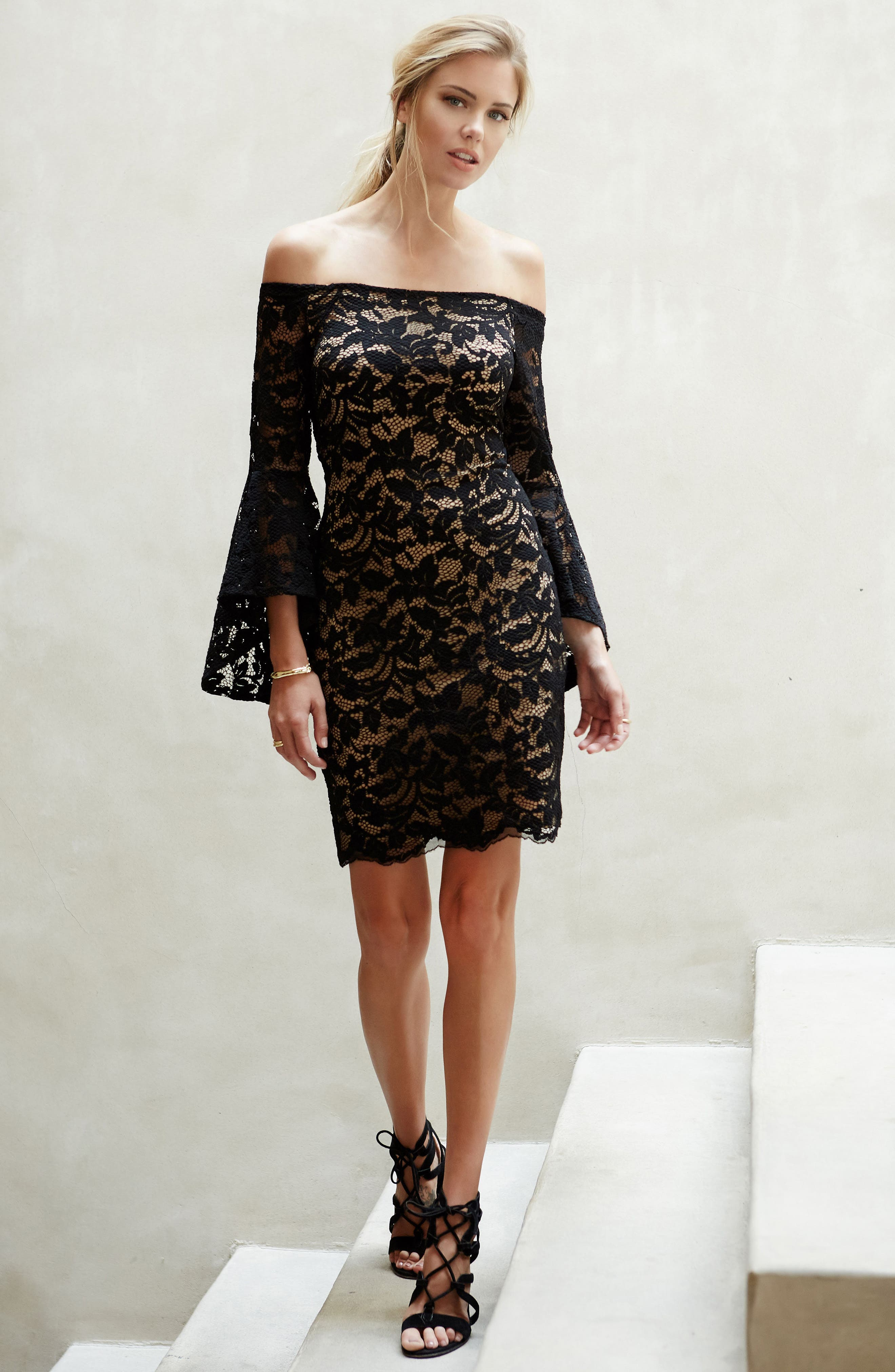 Samantha Lace Off the Shoulder Sheath Dress,                             Alternate thumbnail 3, color,                             BLACK/ NUDE