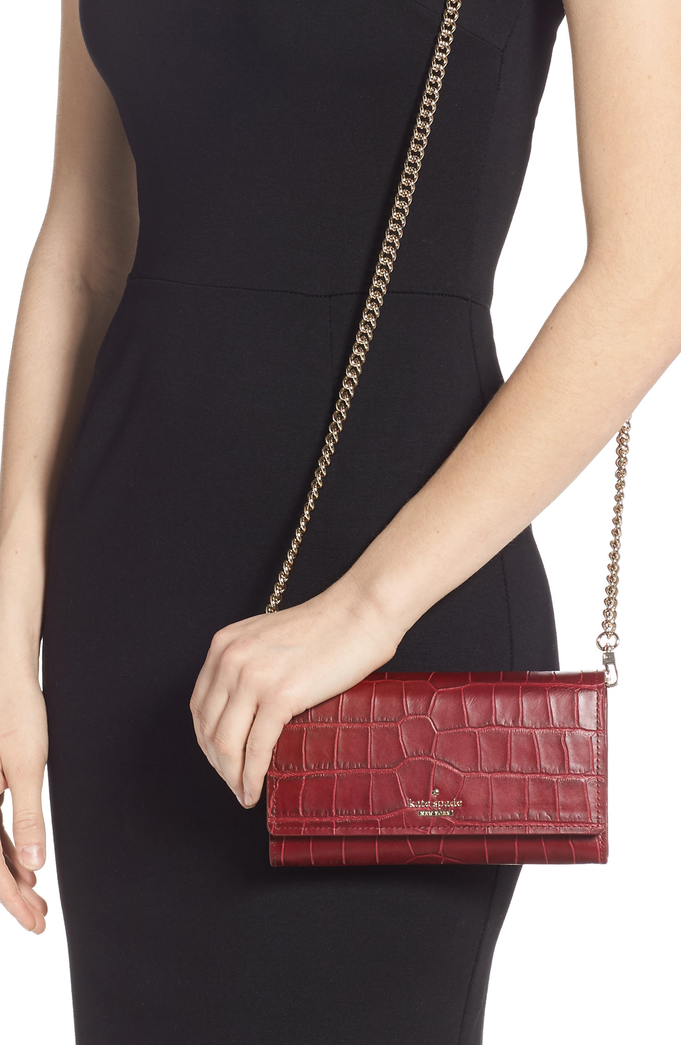 murray street luxe franny leather wallet on a chain,                             Alternate thumbnail 2, color,                             CHILI PEPPER
