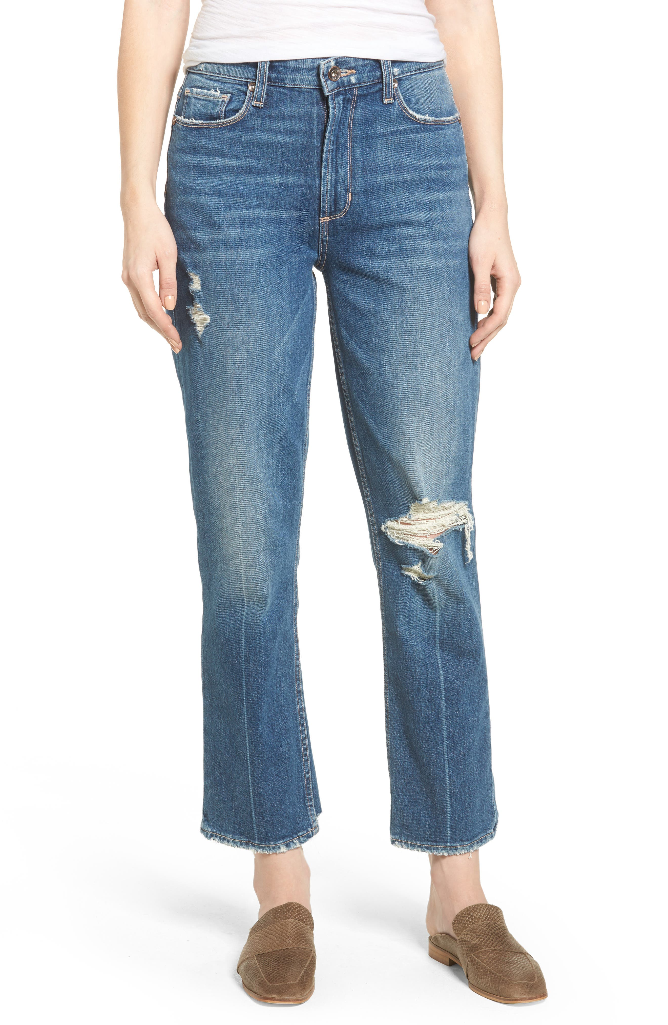 Vintage - Sarah High Waist Crop Straight Leg Jeans,                             Main thumbnail 1, color,                             400