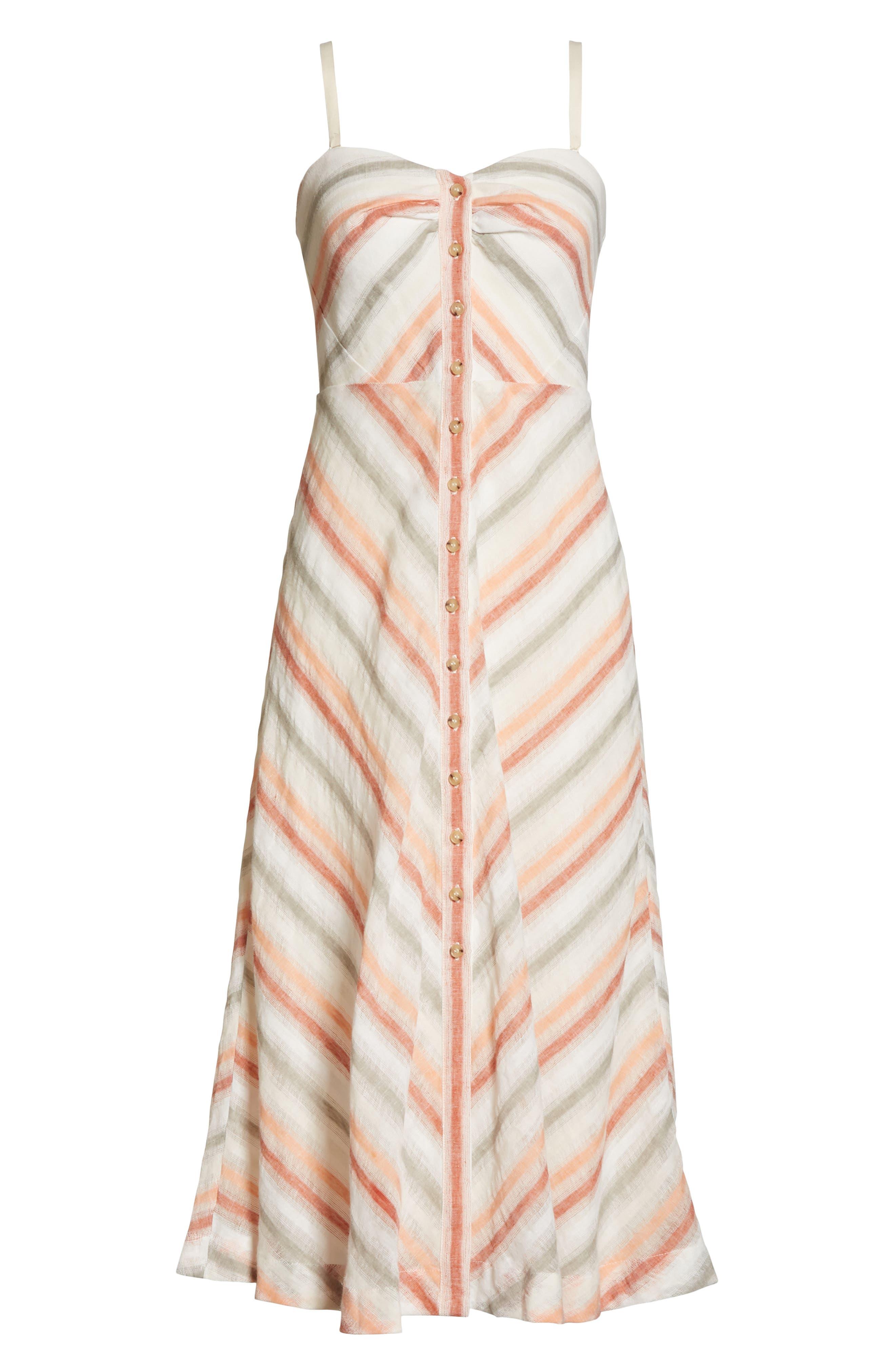 Striking Stripe Midi Dress,                             Alternate thumbnail 7, color,                             903