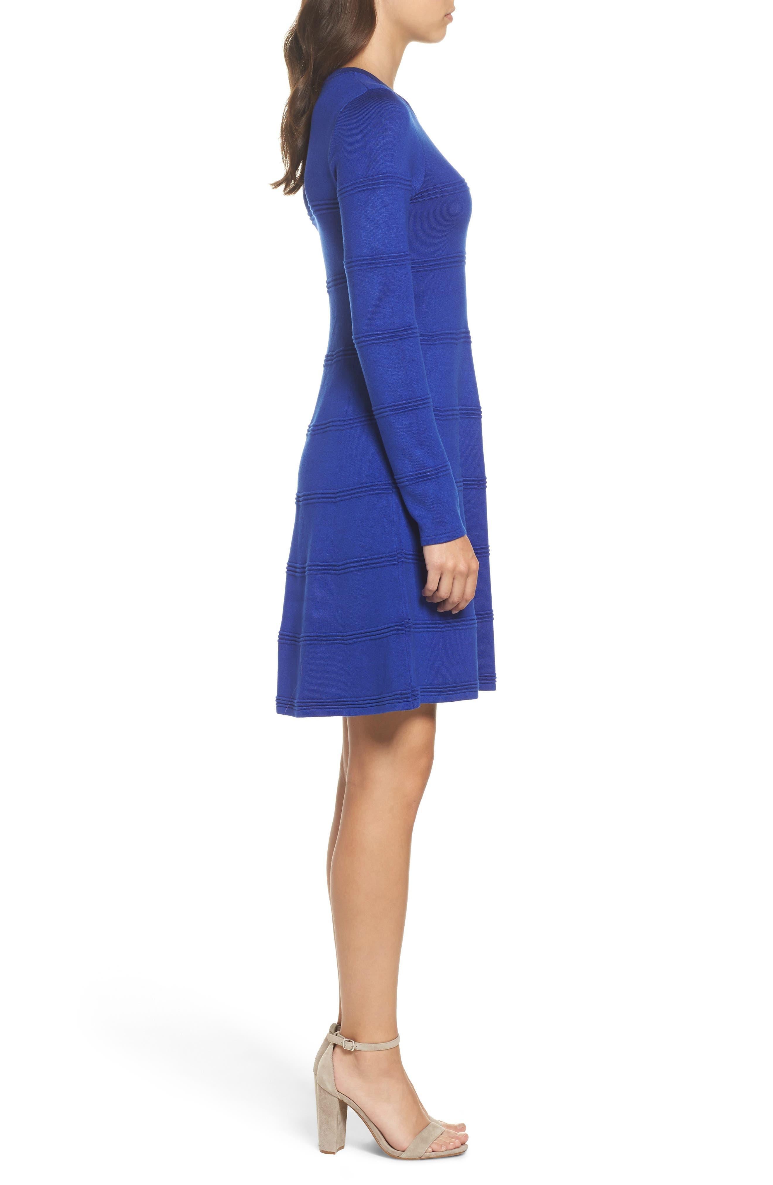 A-Line Sweater Dress,                             Alternate thumbnail 3, color,                             COBALT