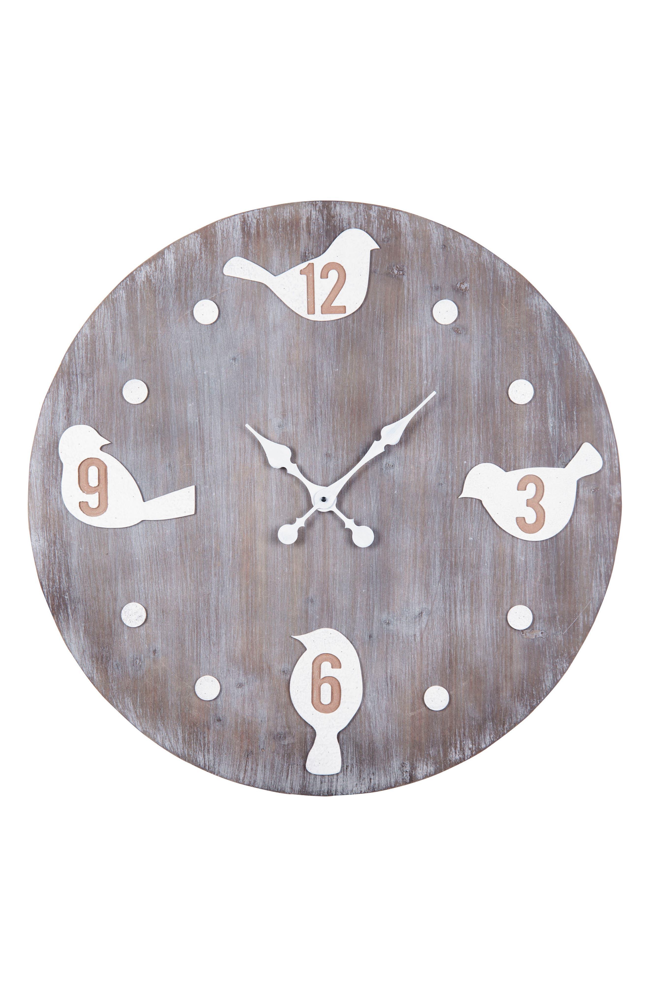Bird Wall Clock,                             Main thumbnail 1, color,                             WOOD/ METAL
