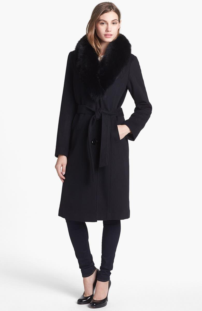 295caa8b6bb Ellen Tracy Genuine Fox Fur Trim Belted Long Coat (Regular   Petite ...
