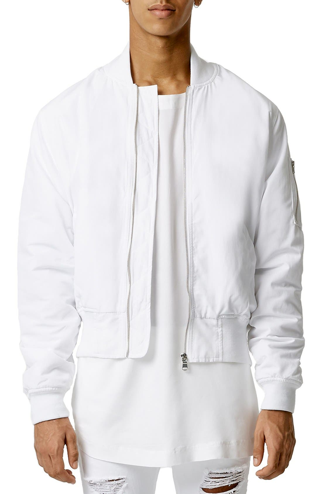 AAA Collection Ruched Back Bomber Jacket,                             Main thumbnail 1, color,                             100