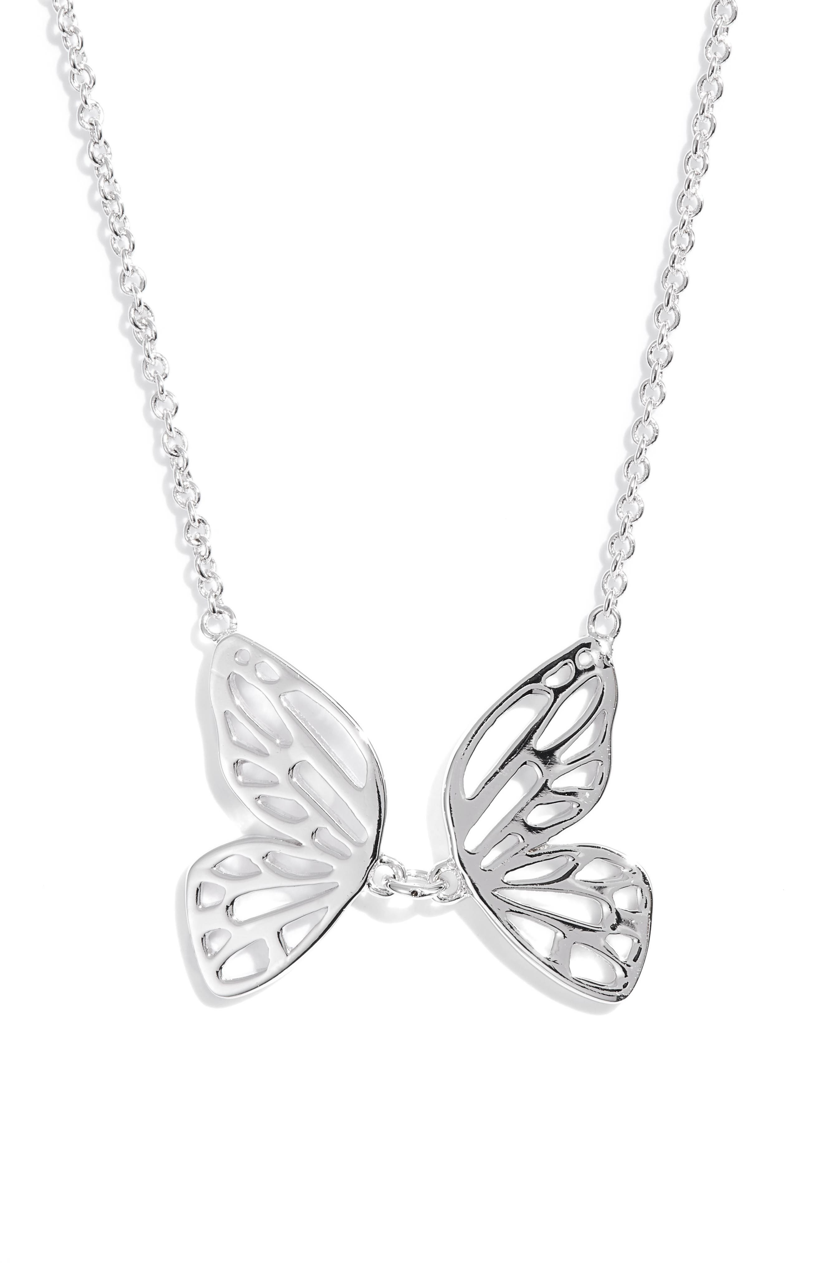 Butterfly Pendant Necklace,                         Main,                         color, SILVER