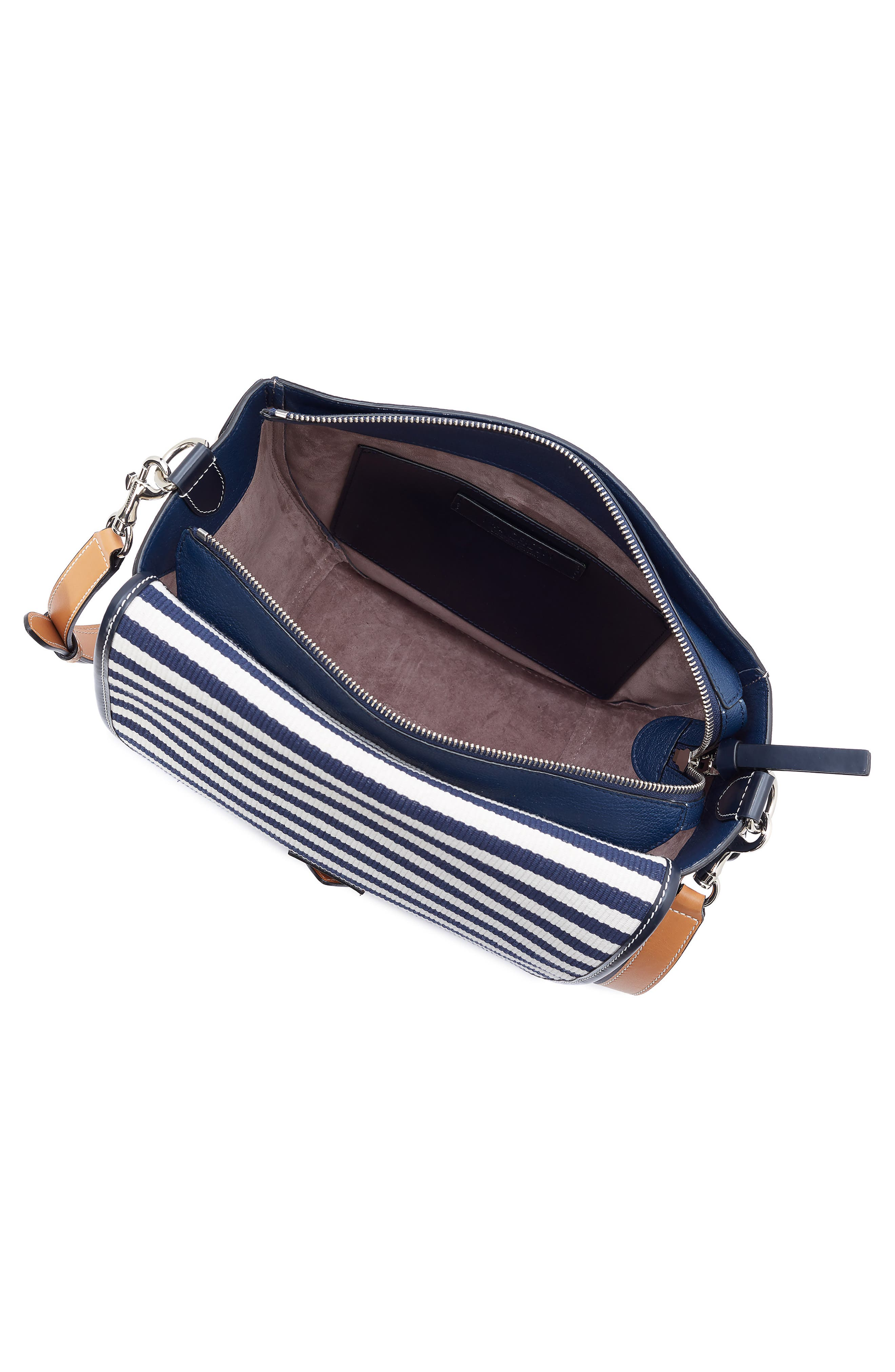 JW ANDERSON,                             Small Bike Leather & Canvas Crossbody Bag,                             Alternate thumbnail 3, color,                             NAVY BRETON