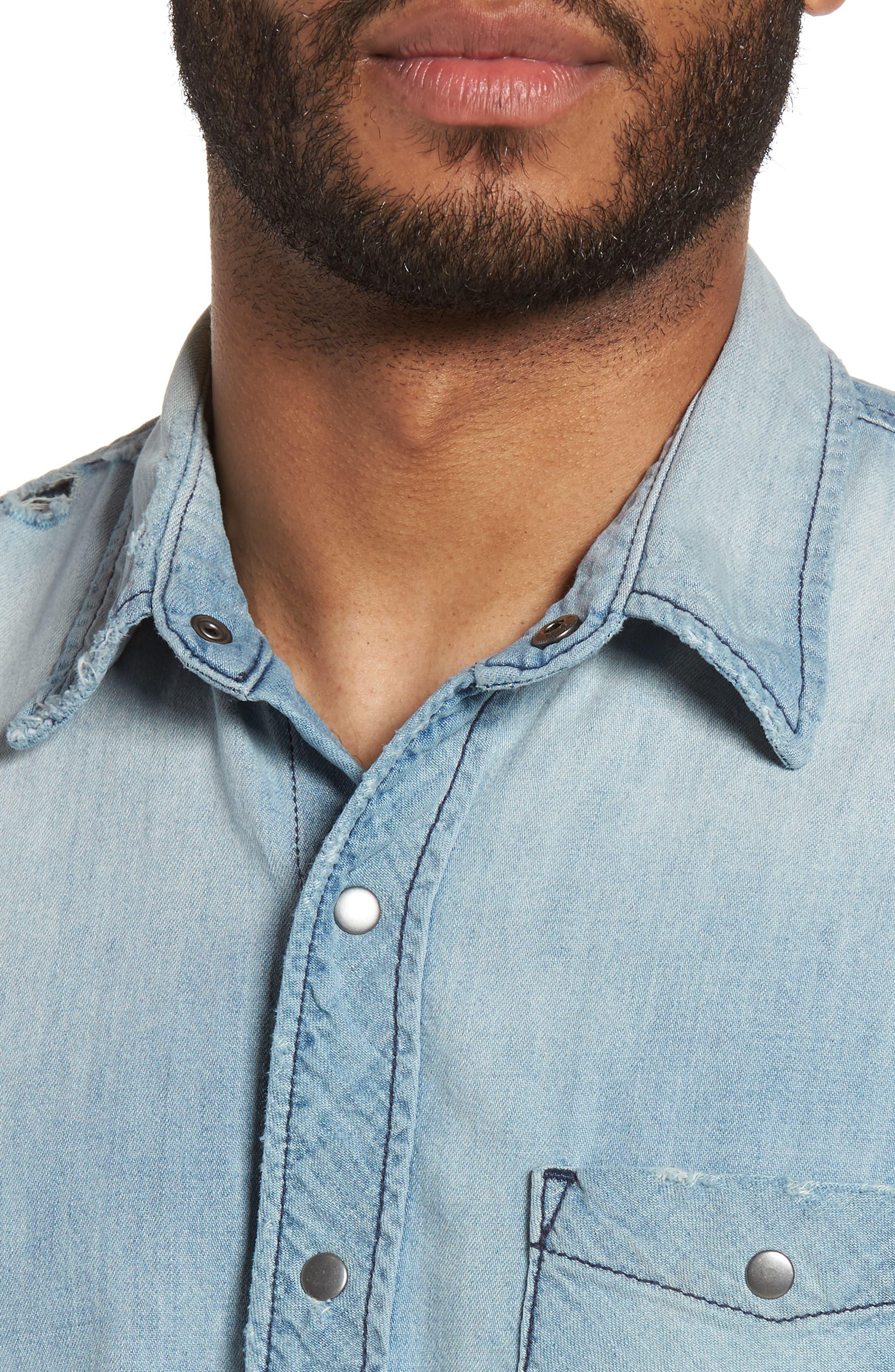 Hudson Slim Fit Destructed Denim Shirt,                             Alternate thumbnail 4, color,