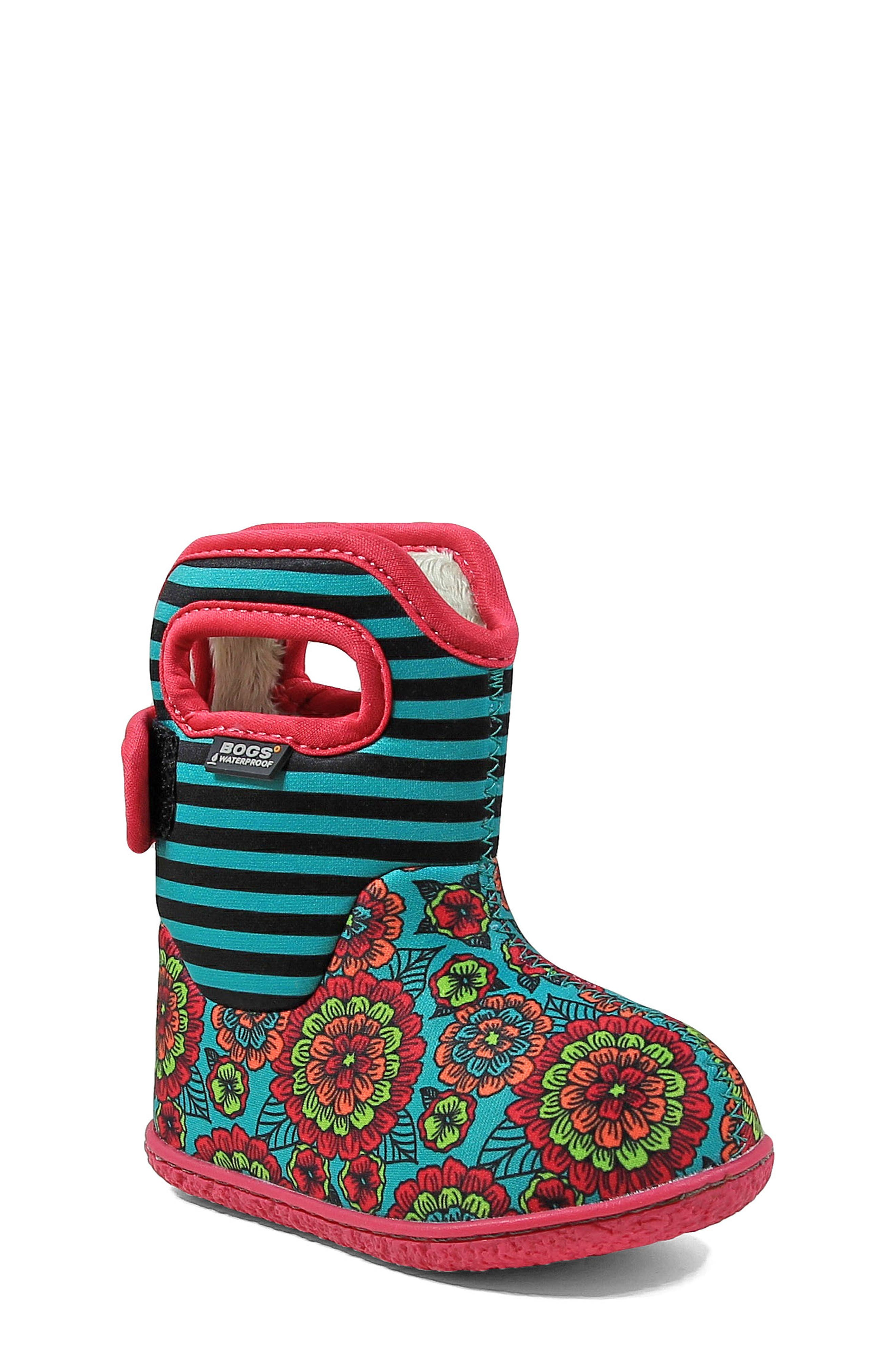 BOGS Baby Bogs Classic Pansies Washable Insulated Waterproof Boot, Main, color, 346