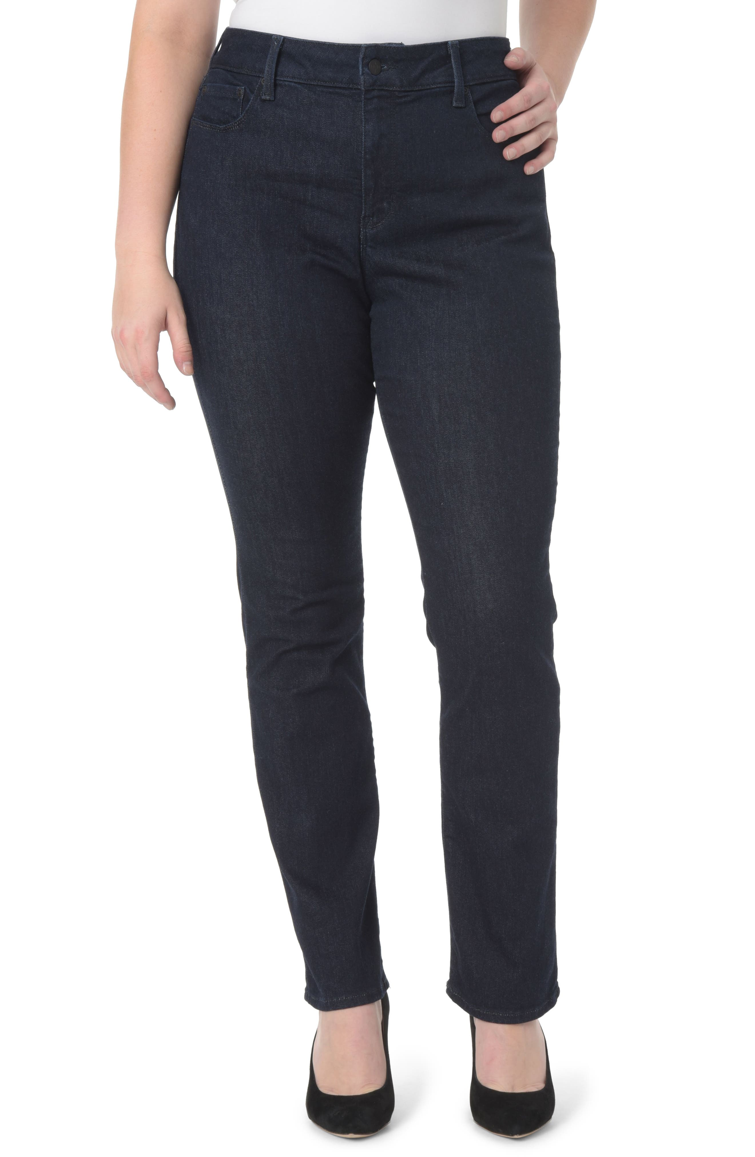 Marilyn High Rise Straight Leg Jeans,                             Main thumbnail 1, color,                             RINSE TONAL STITCH