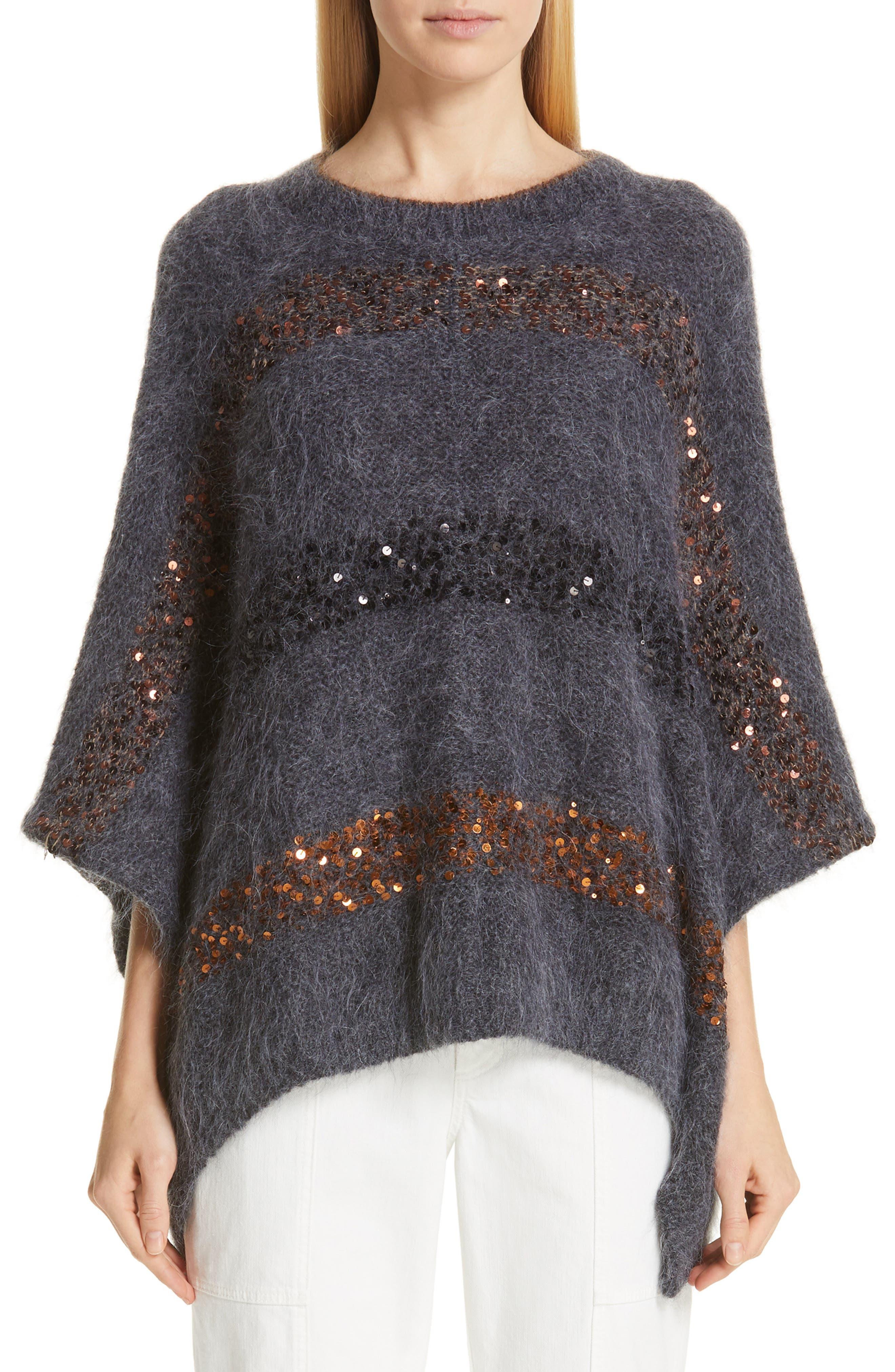 BRUNELLO CUCINELLI Sequin Stripe Poncho Sweater, Main, color, ANTHRACITE