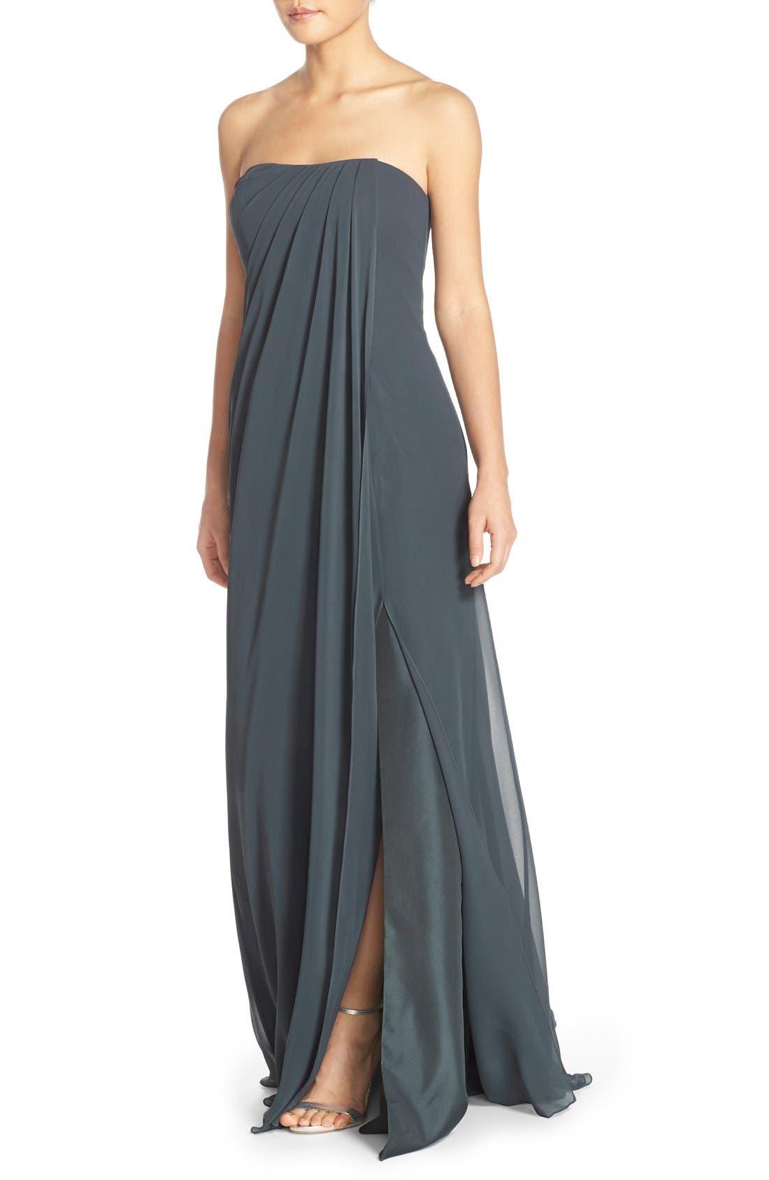 Raquel Front Slit Strapless Chiffon Gown,                             Alternate thumbnail 4, color,                             026